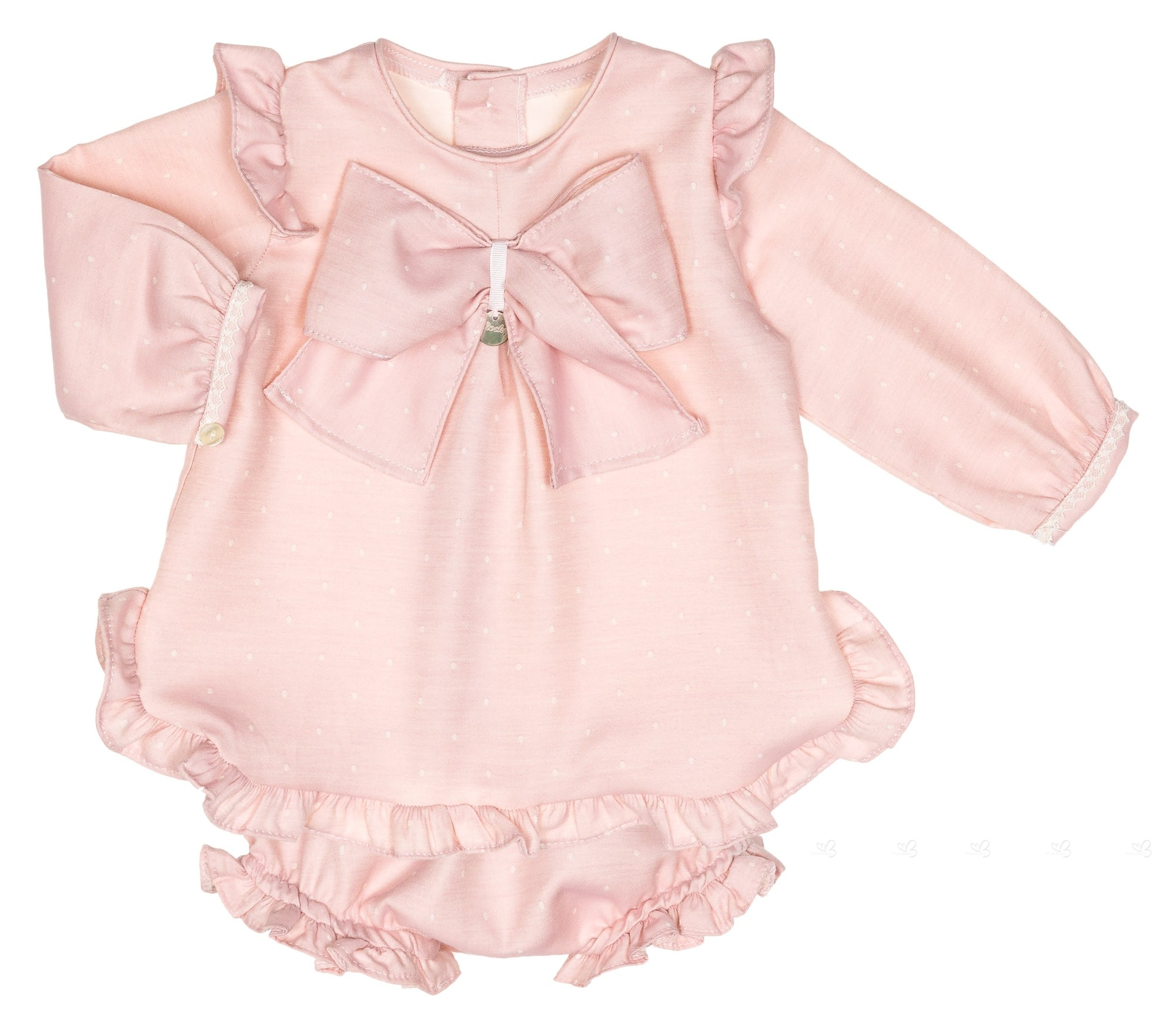Baby Pale Pink & Ivory Polka Dot Dress Set
