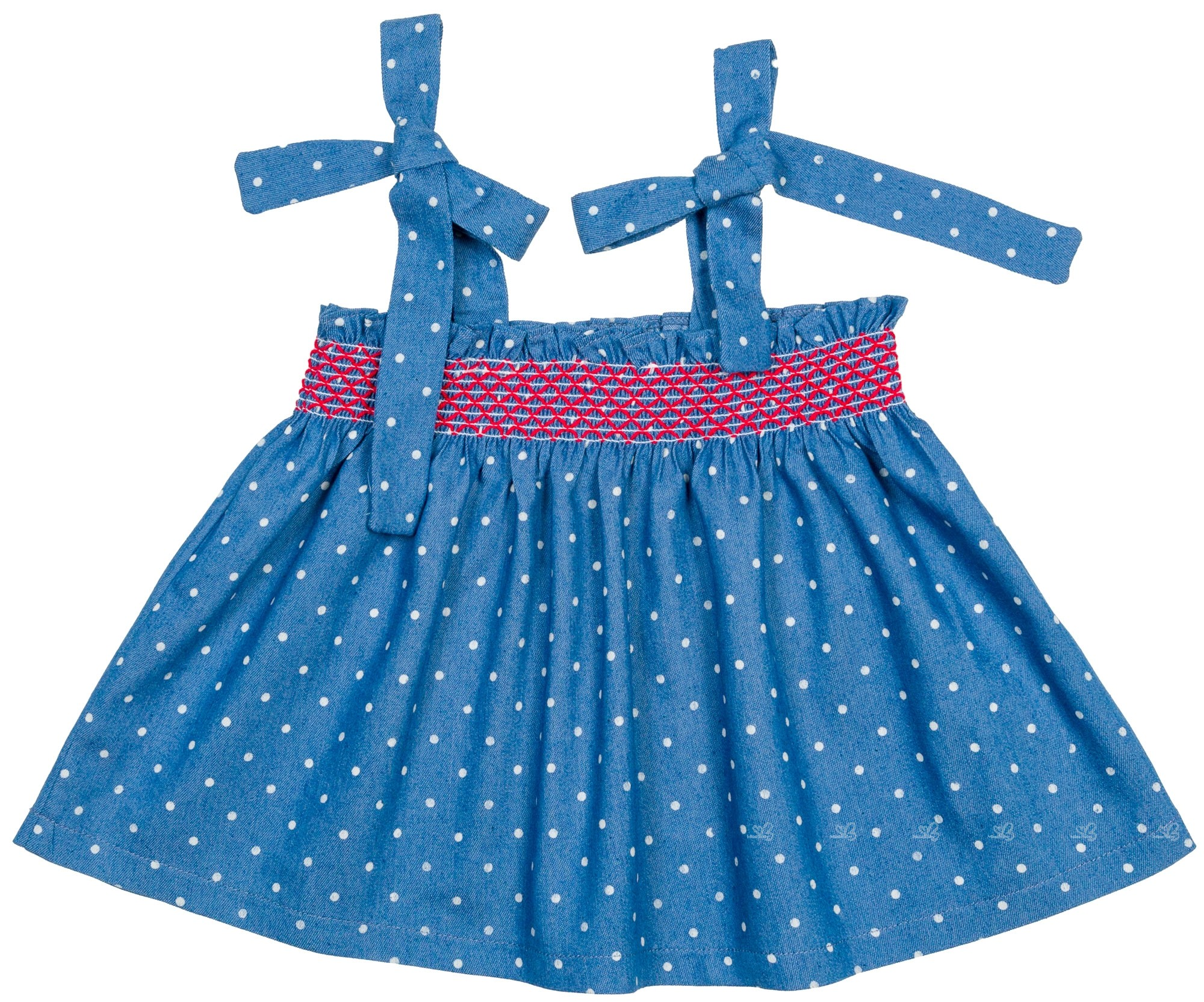Eva Castro Baby Baby Girls Denim Smocked 2 Piece Dress Set