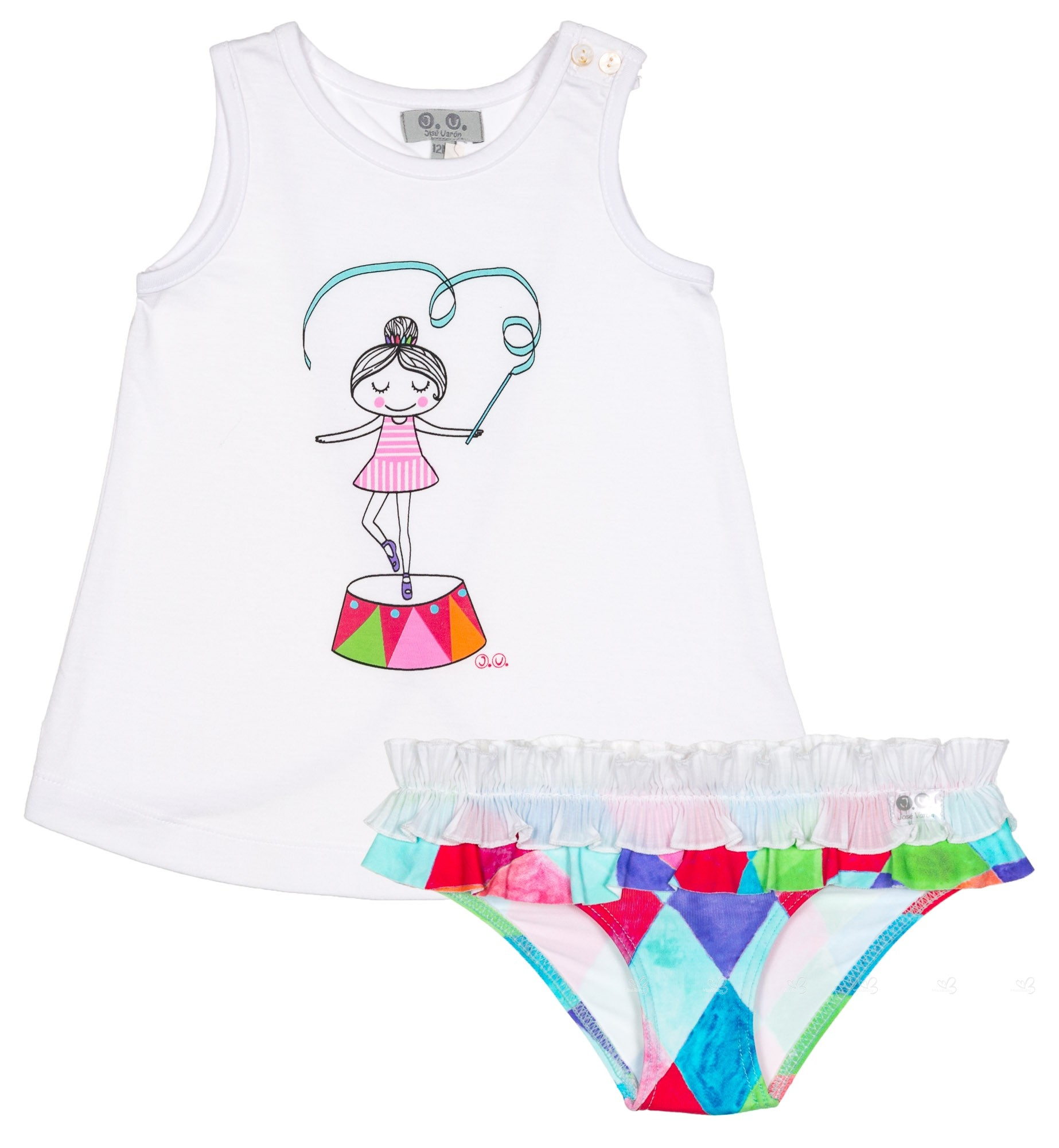 47e3dca026f51 J.V. Girls Circus Dancer Top & Colourful Diamond Bikini Bottoms Set ...