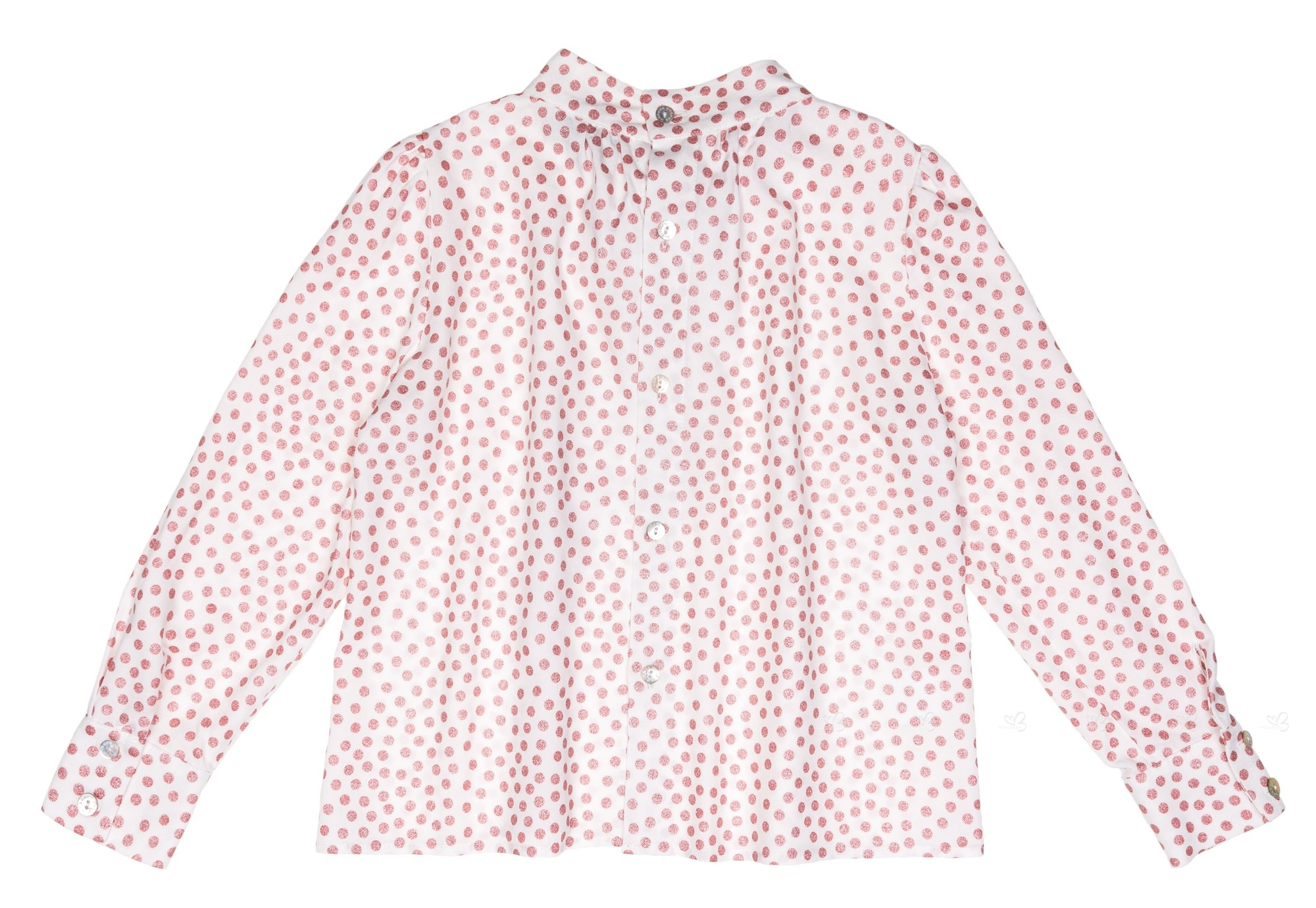 White Blouse With Pink Polka Dots
