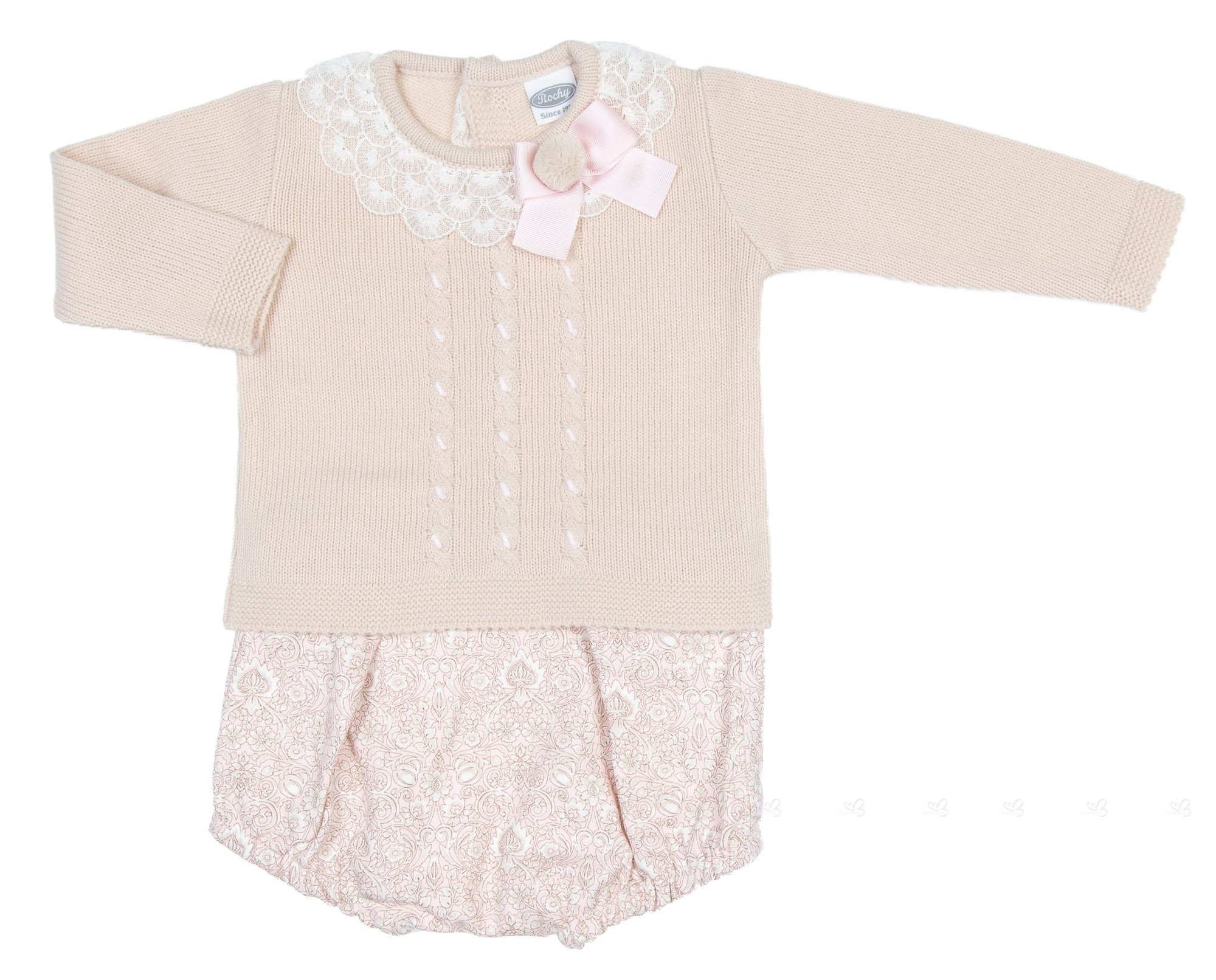 75316e3b8 Baby Beige Pom-Poms Sweater   Pink Floral Short
