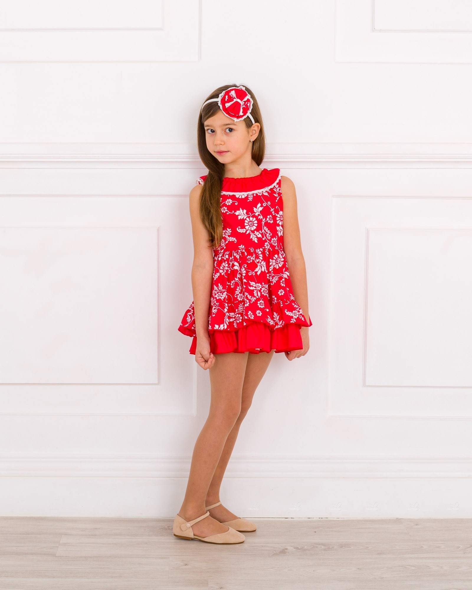 Girls Red   White Floral Print Ruffle Dress Outfit. Hover to zoom e43f2d82f