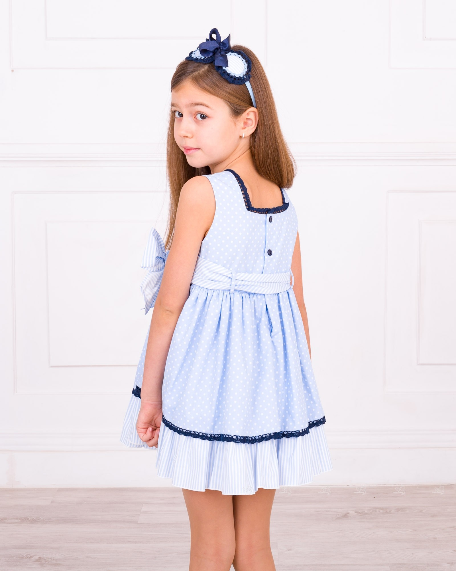 Blue and white bow jersey dress