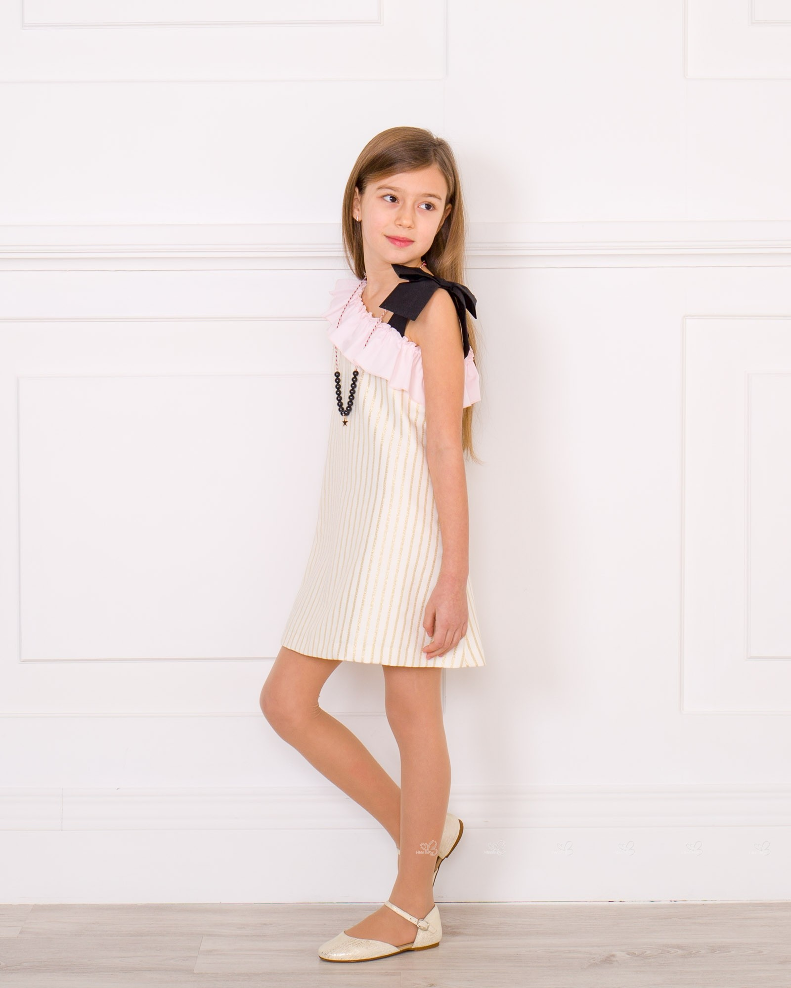 501cfff227db Girls Ivory   Gold Striped OFF the Shoulder Dress Outfit