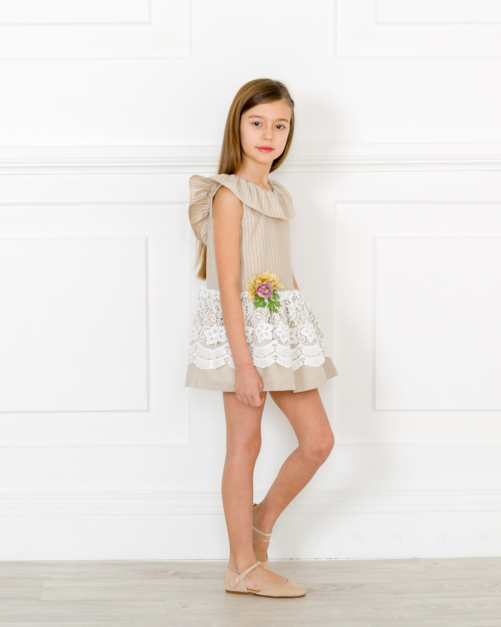 4b903604bc1b Girls Beige   White Striped Dress with Floral Brooch Outfit