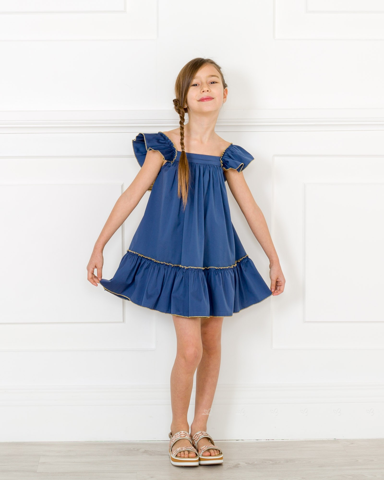 a1c7b7f58806 ... Girls Navy Blue   Gold Sun Dress Outfit ...