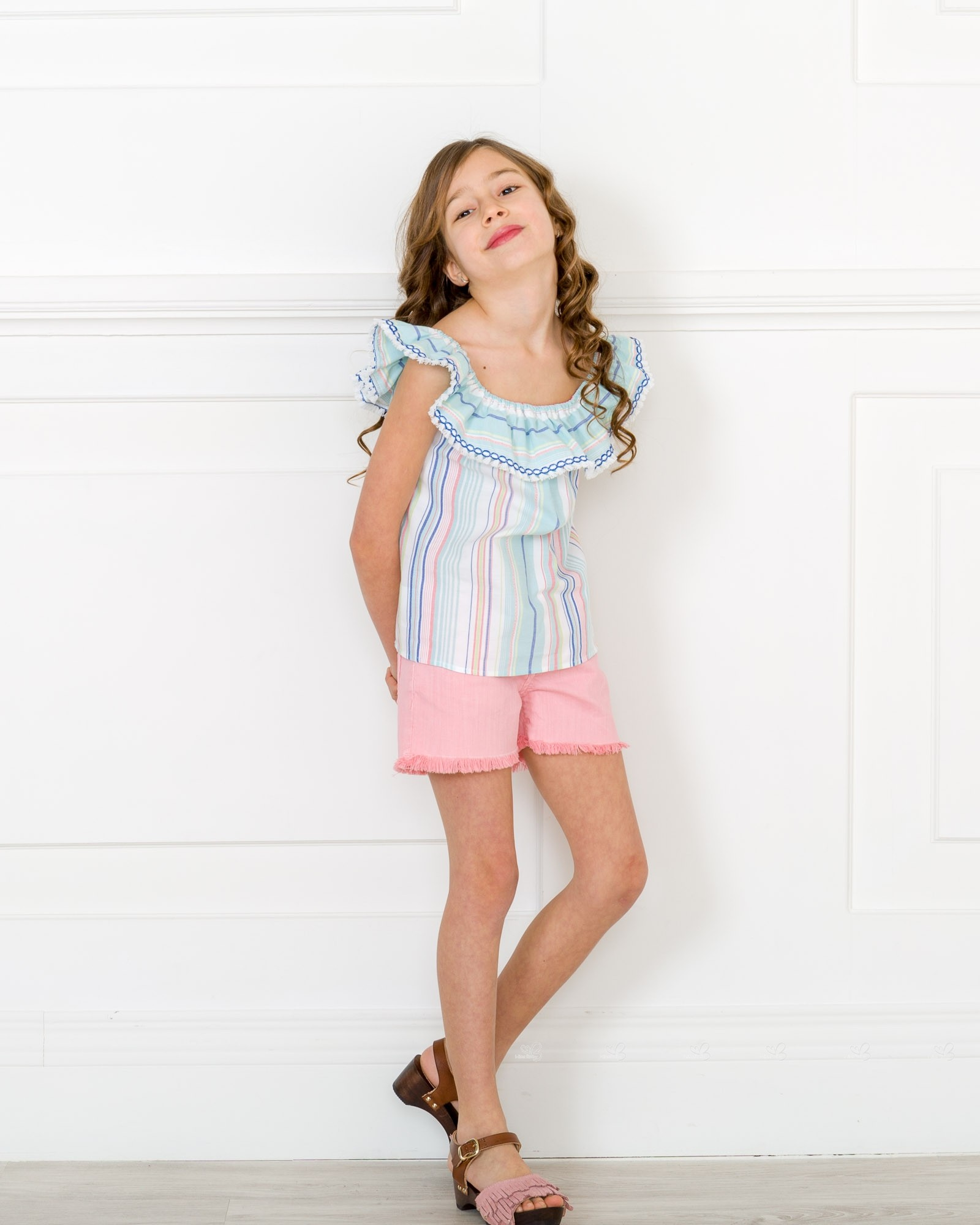 01d93a2df4 Girls Blue Pink Striped Blouse with Ruffle Collar   Pink Denim ...