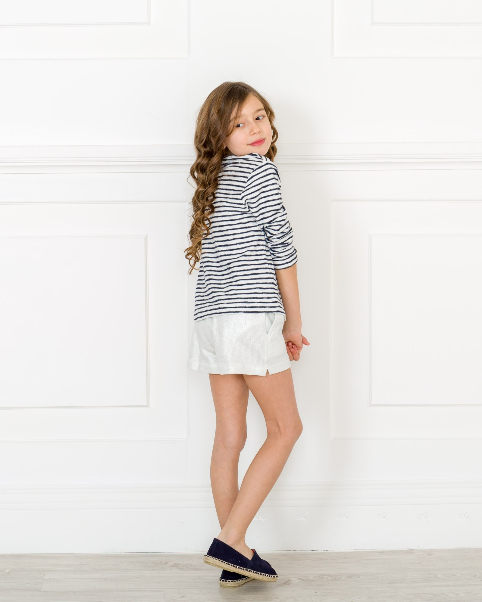 Girls Blue White Striped T Shirt With Silver Lurex Shorts Outfit