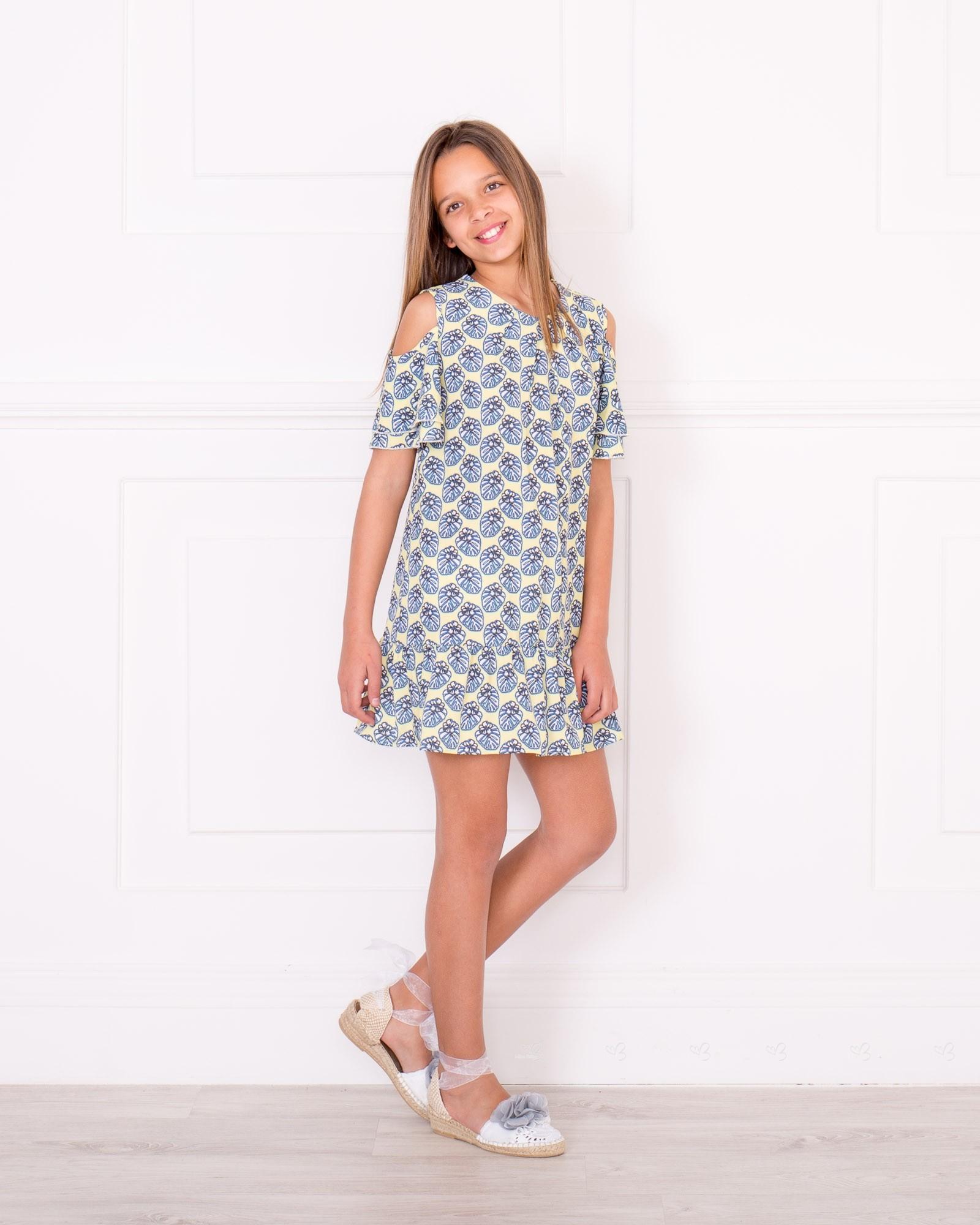 48ba281f0ac Girls Yellow   Blue OFF the Shoulder Dress   Blue Pearl Denim Jacket ...
