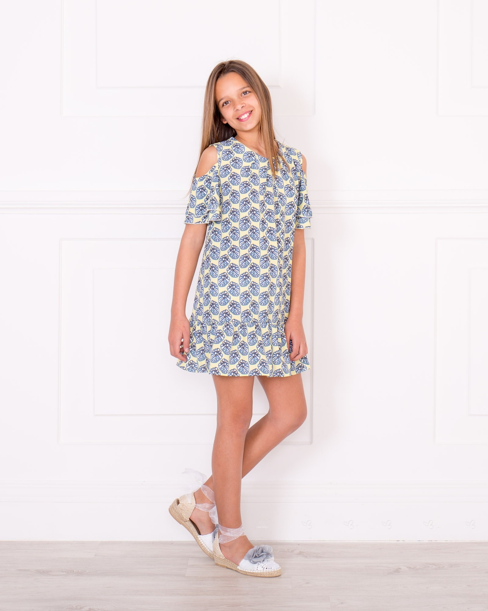 girls yellow amp blue off the shoulder dress amp blue pearl