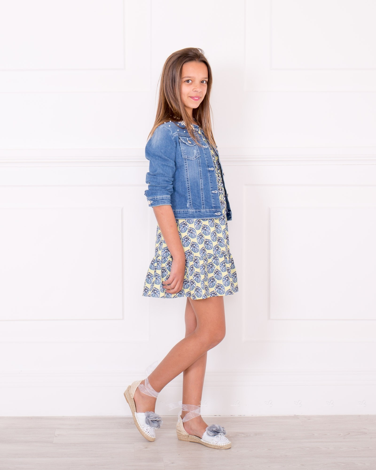 68ddf7a74157 ... Girls Yellow   Blue OFF the Shoulder Dress   Blue Pearl Denim Jacket  Outfit ...