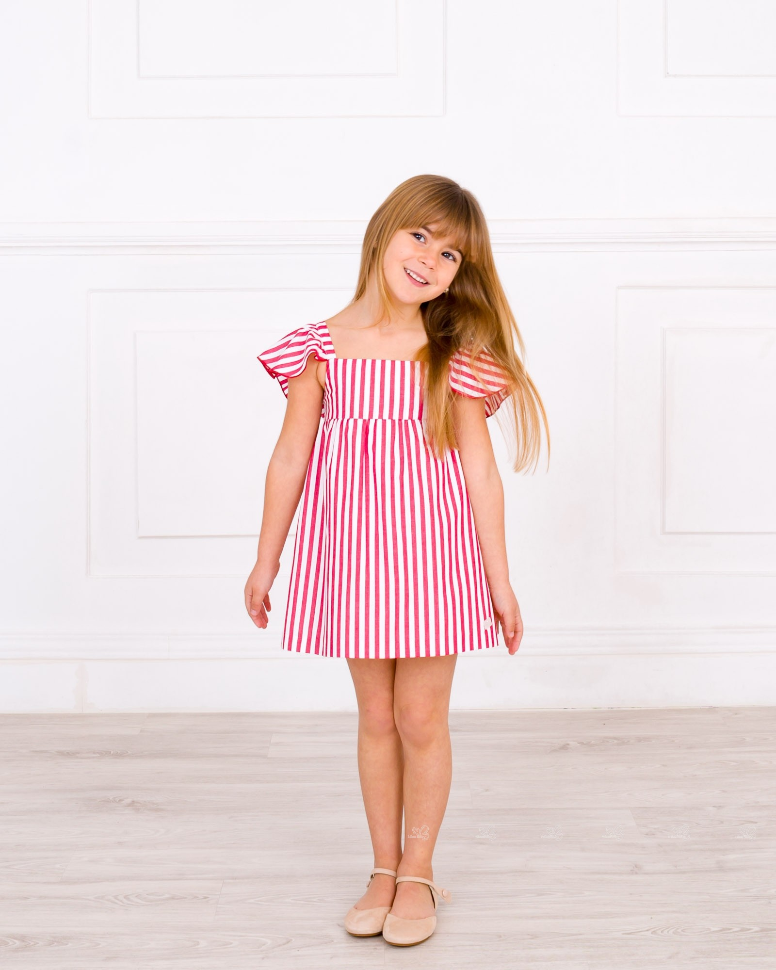 50c21613d Girls Red   White Striped Dress with Back Maxi Bow Outfit