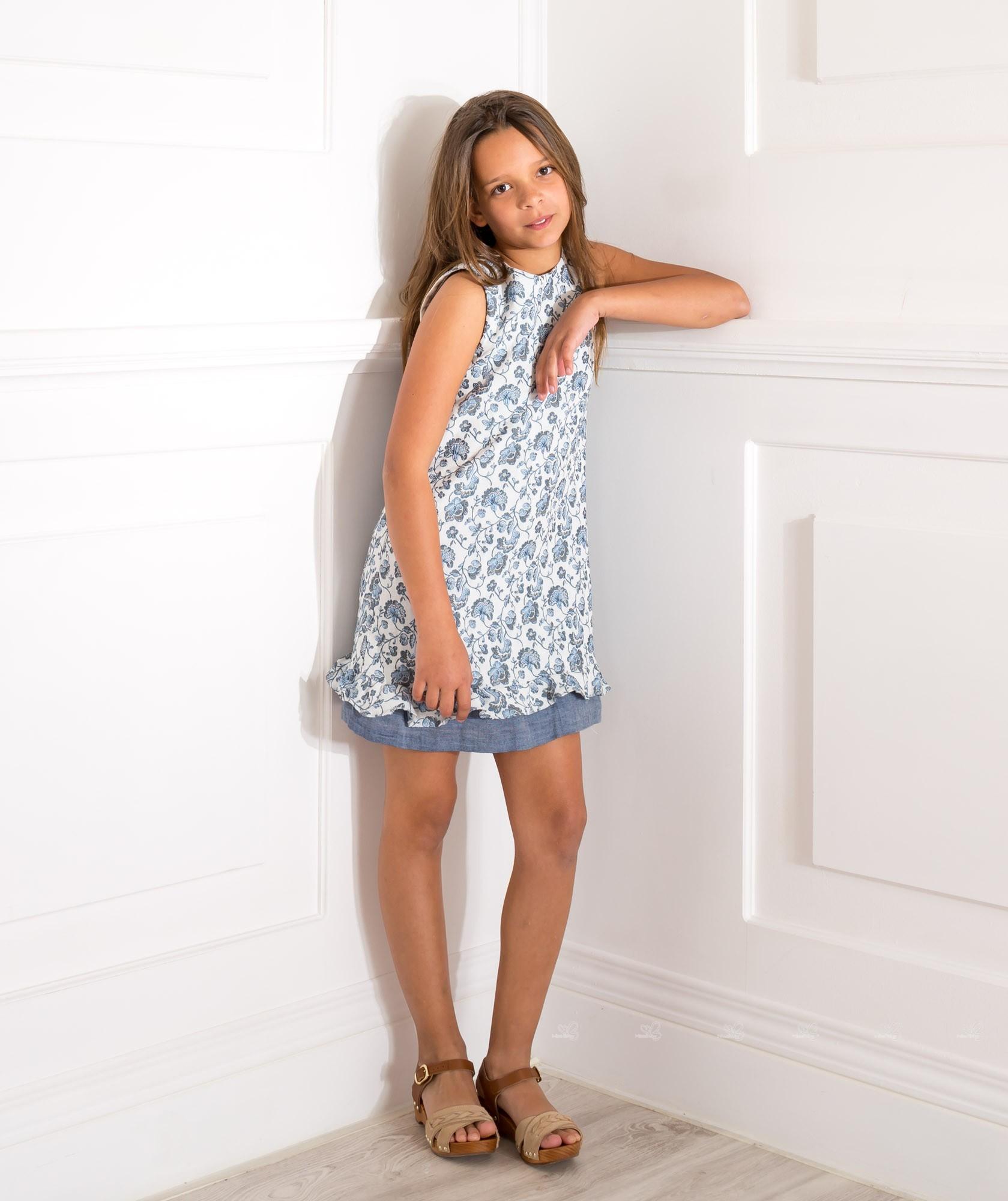 Rochy White & Navy Blue Polka Dot Dress With Ruffle Back   Missbaby