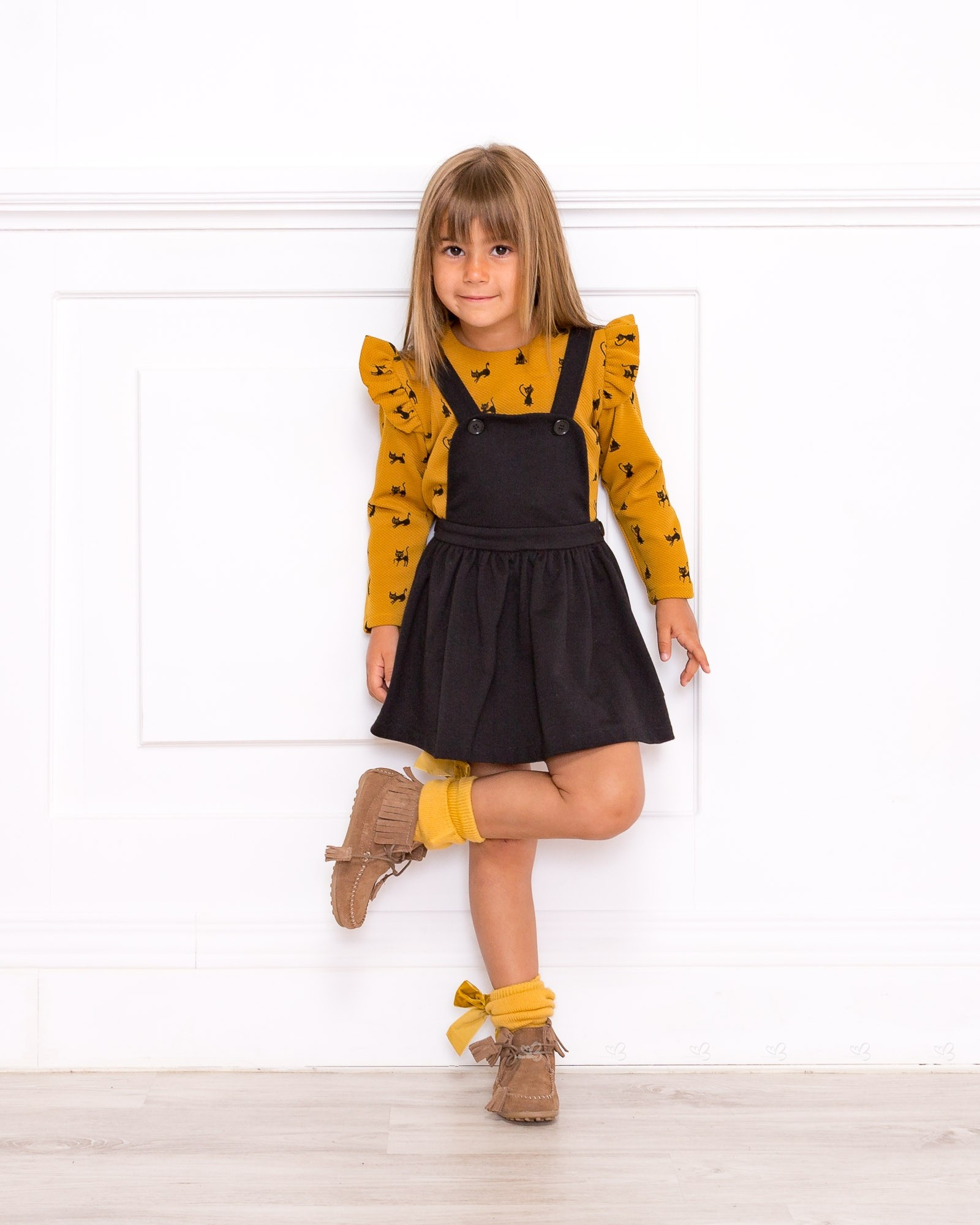 fae51a7765 Girls Mustard and Black Cat Blouse   Black Dungaree Dress Outfit. Hover to  zoom