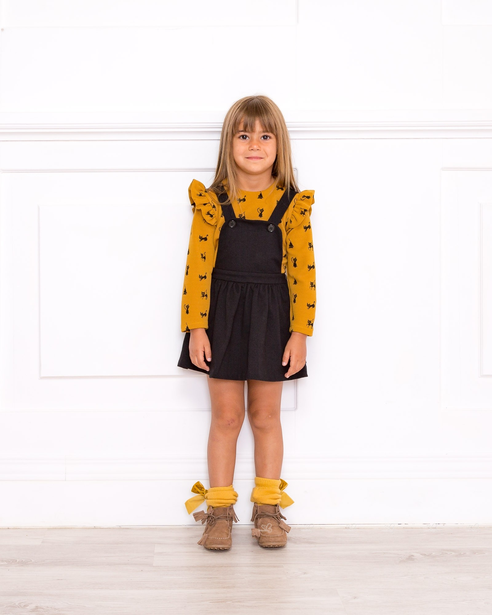 0df26c5cea ... Girls Mustard and Black Cat Blouse   Black Dungaree Dress Outfit ...
