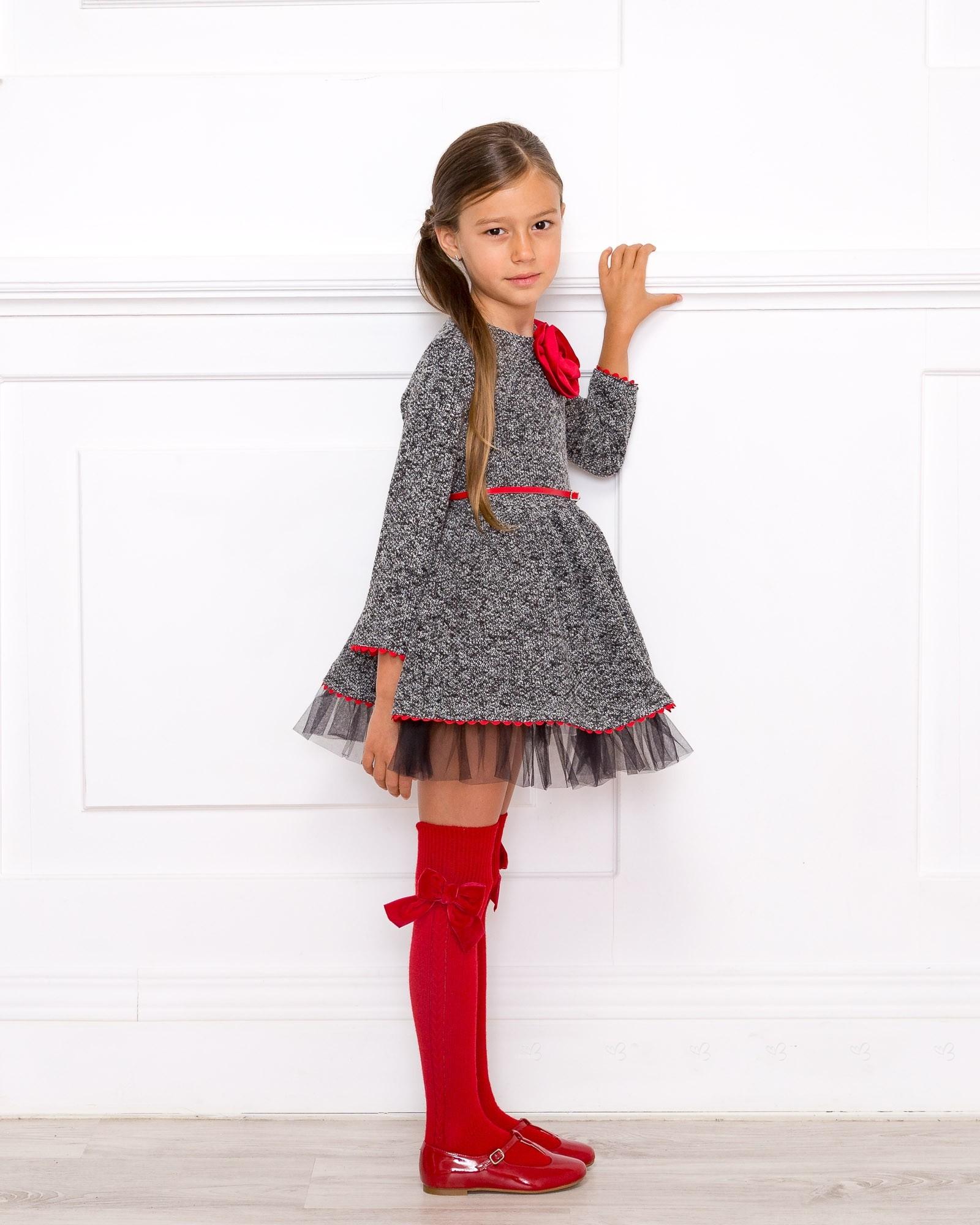 Nekenia Black White Knitted Dress With Red Flower Belt Missbaby
