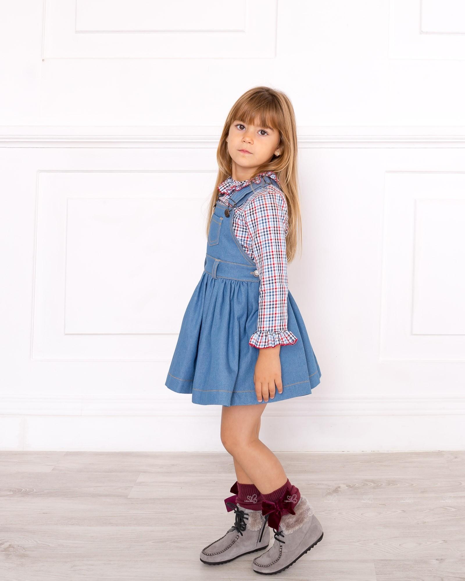 40eb2ebdca ... Girls Checked Blouse   Denim Pinafore Dress Set ...