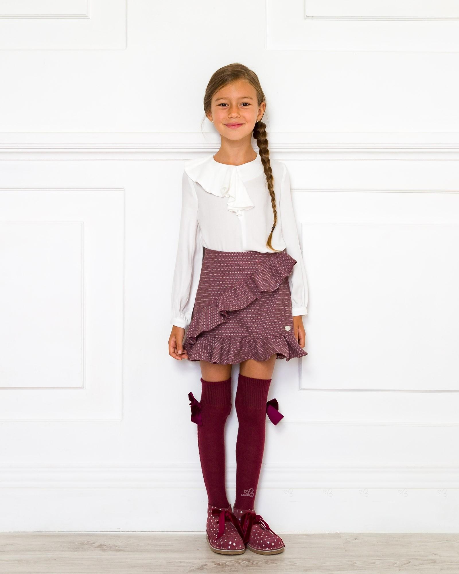 Girls Ivory Viscose Blouse Amp Burgundy Skirt Set Missbaby