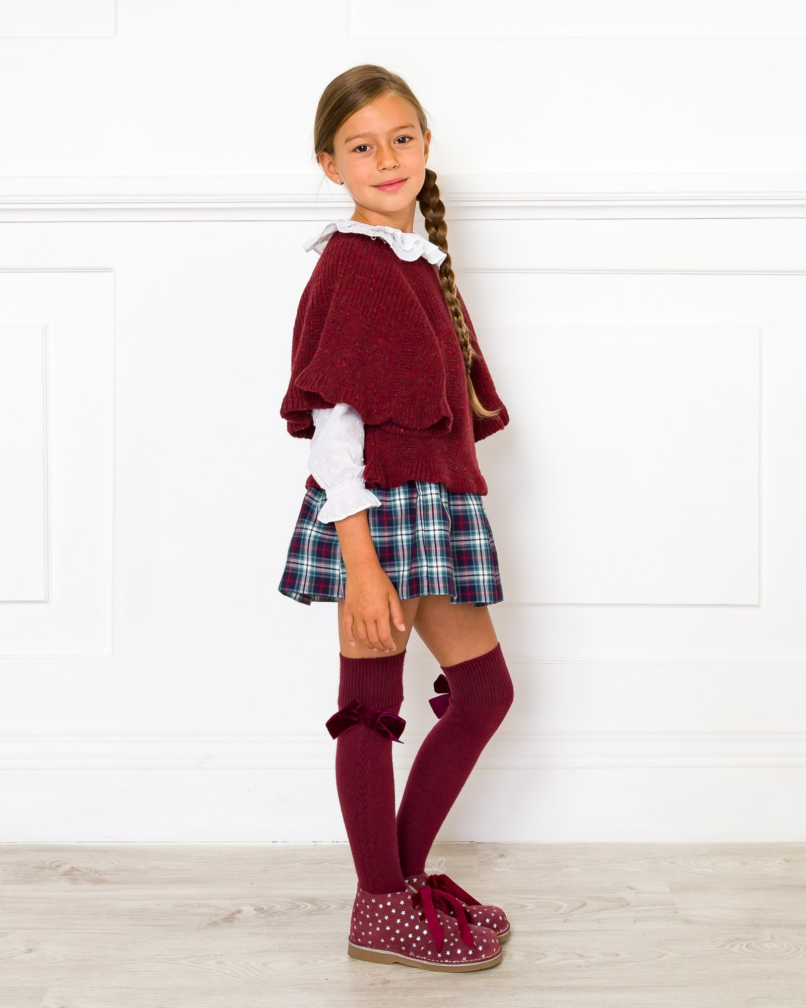 Girls Burgundy Melange Knitted Poncho Sweater | Missbaby