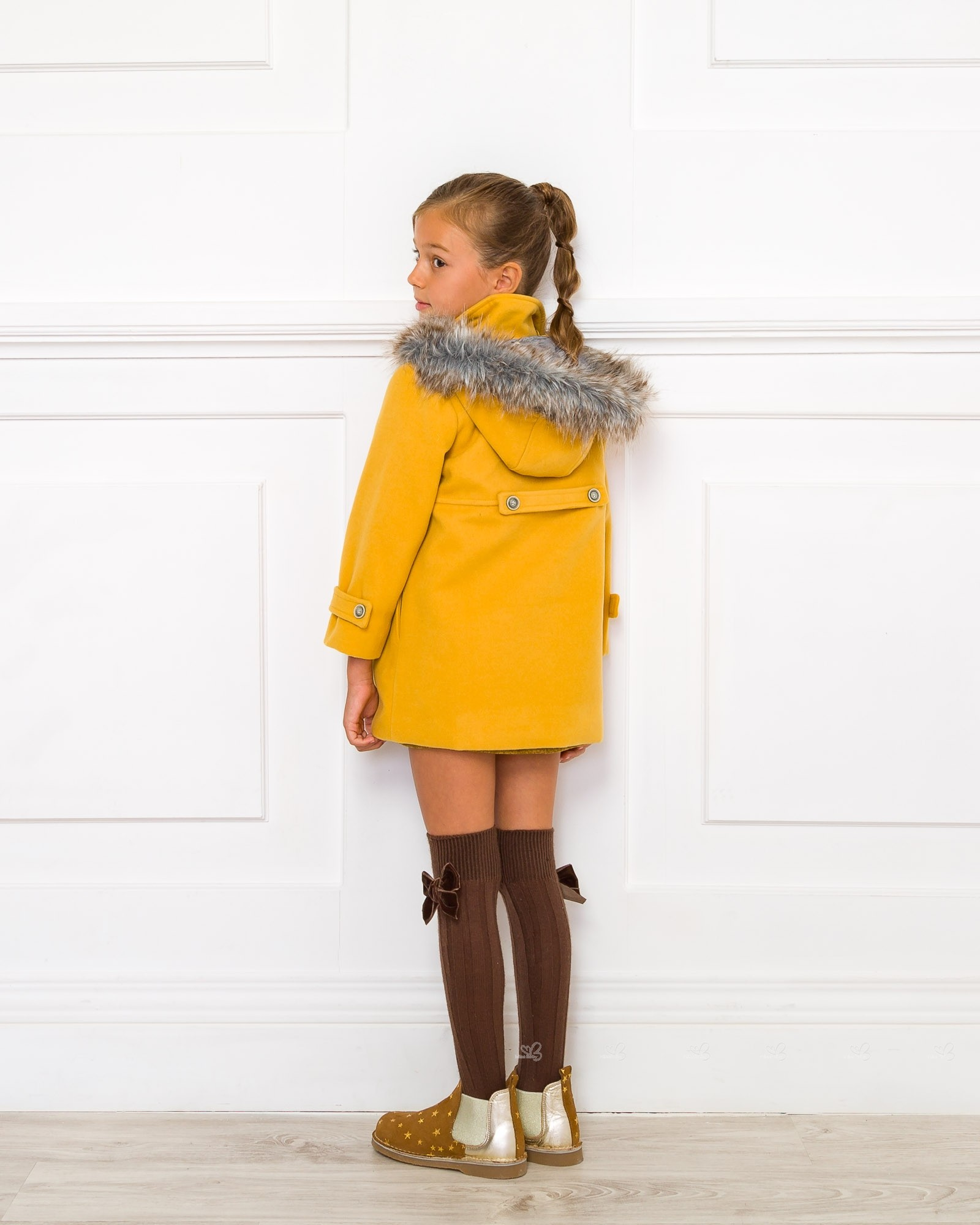 Mustard Hooded Duffle Coat | Missbaby