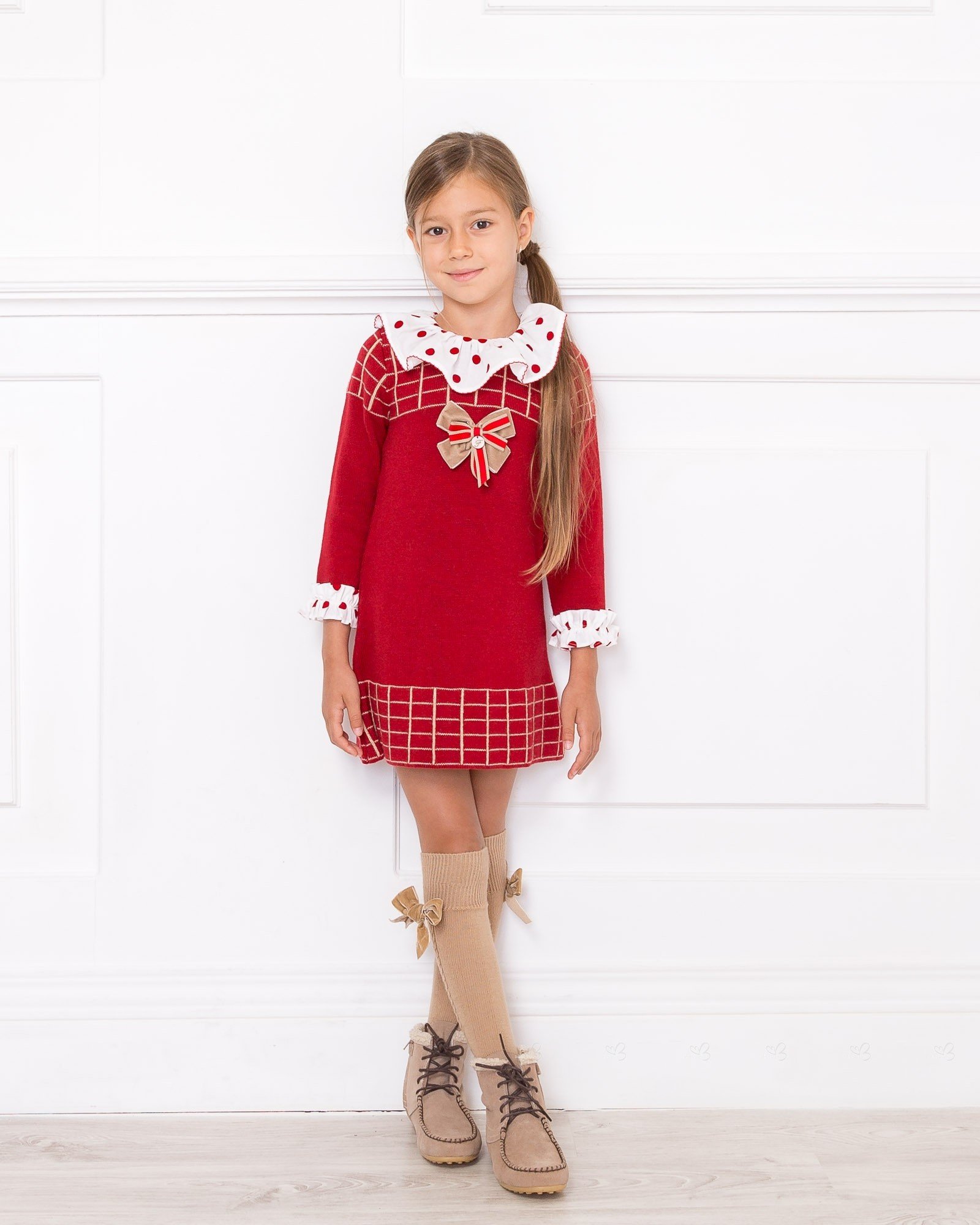 Red Amp White Knitted Jacquard Dress Missbaby