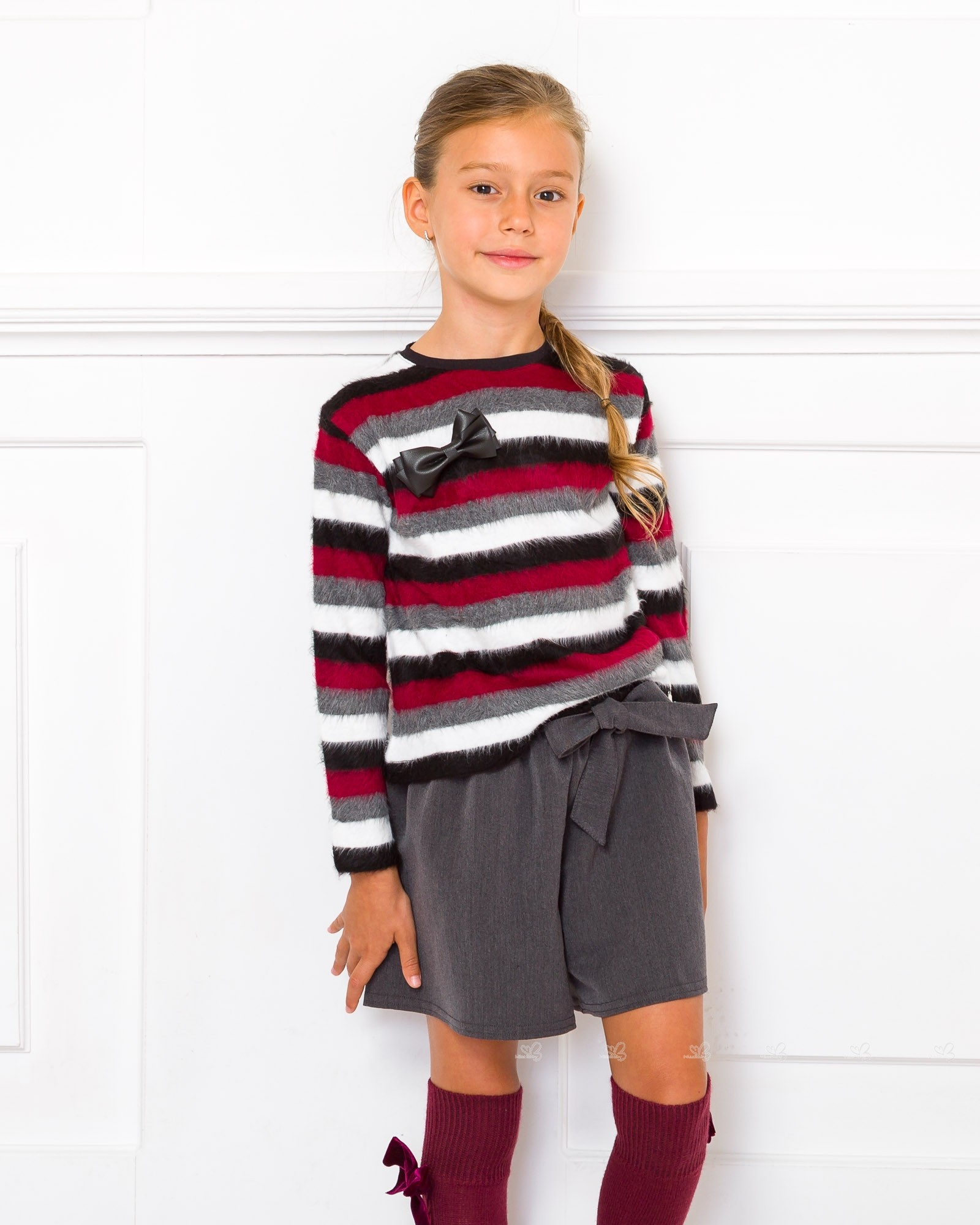Miss Grant Gray & Burgundy Striped Sweater With Bow Brooch | Missbaby