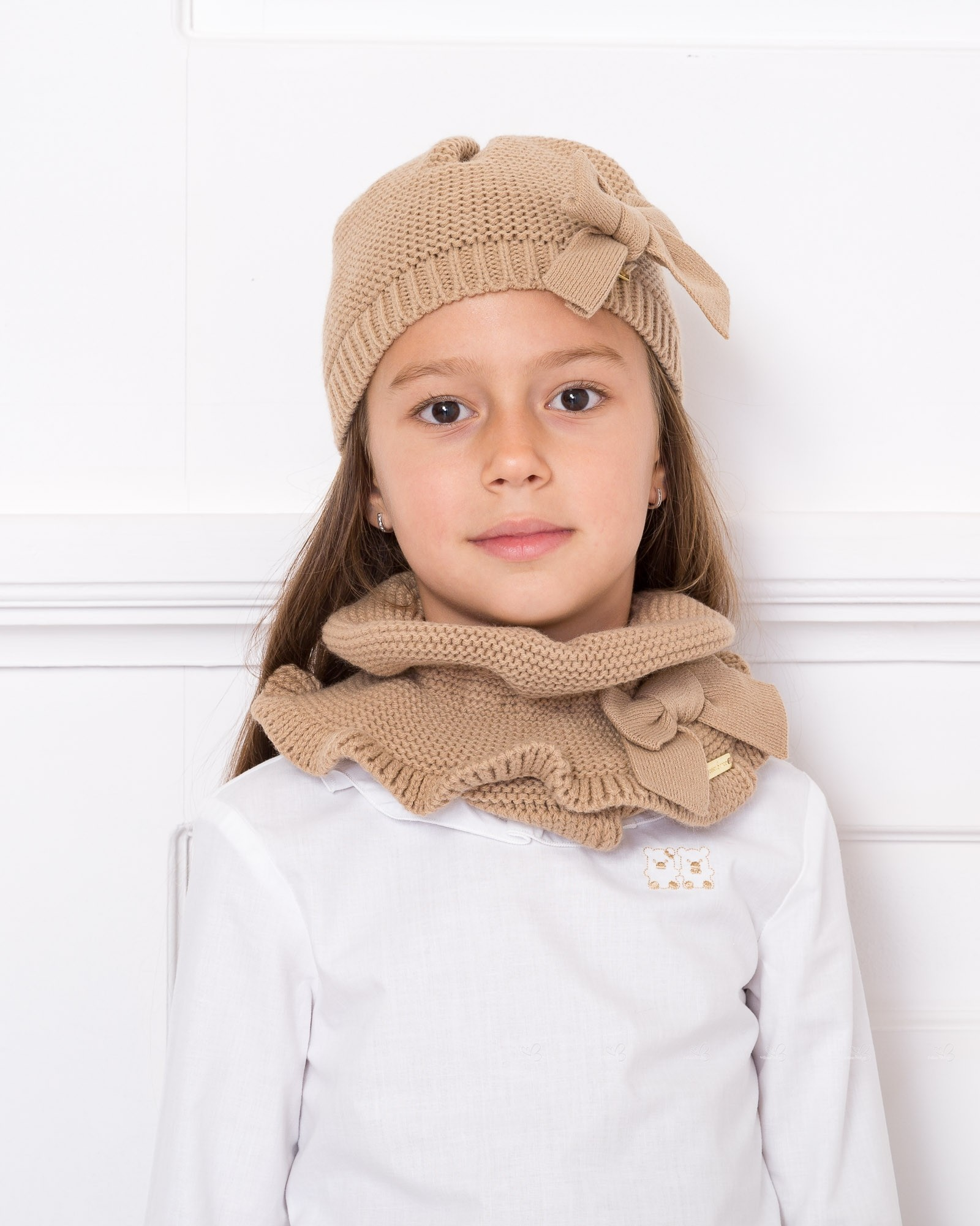 15d623cc6 Girls Beige Knitted Hat & Bow