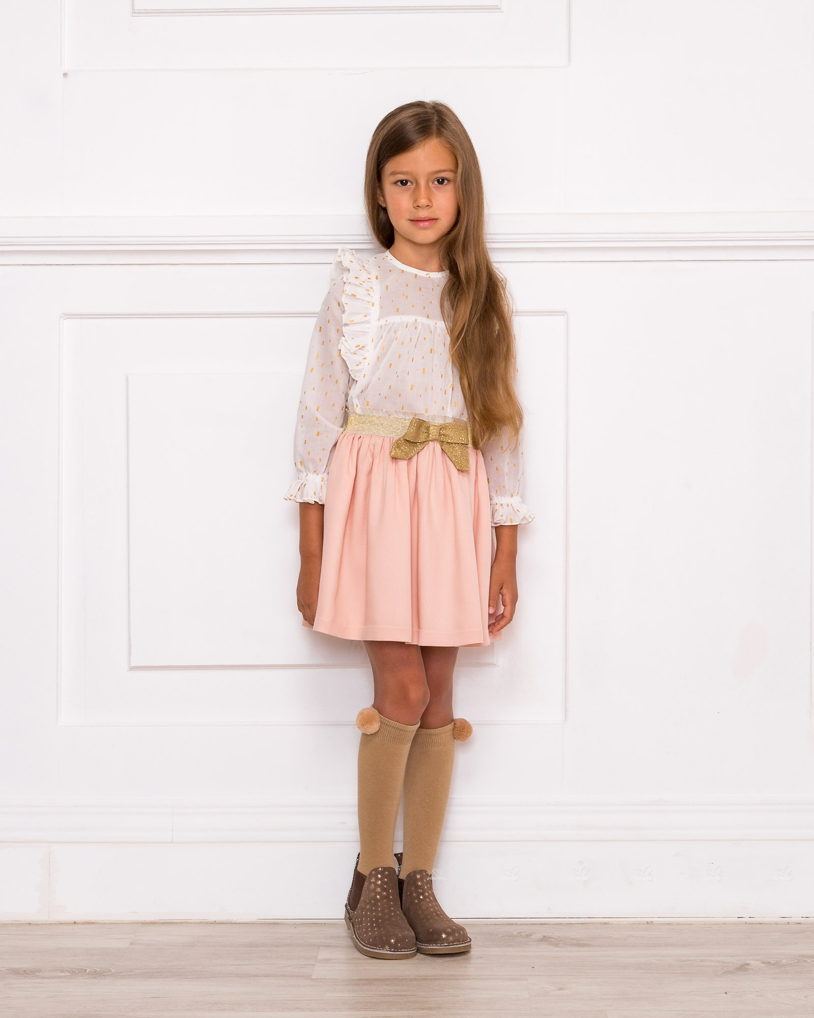 girls ivory blouse  pale pink viscose skirt set outfit