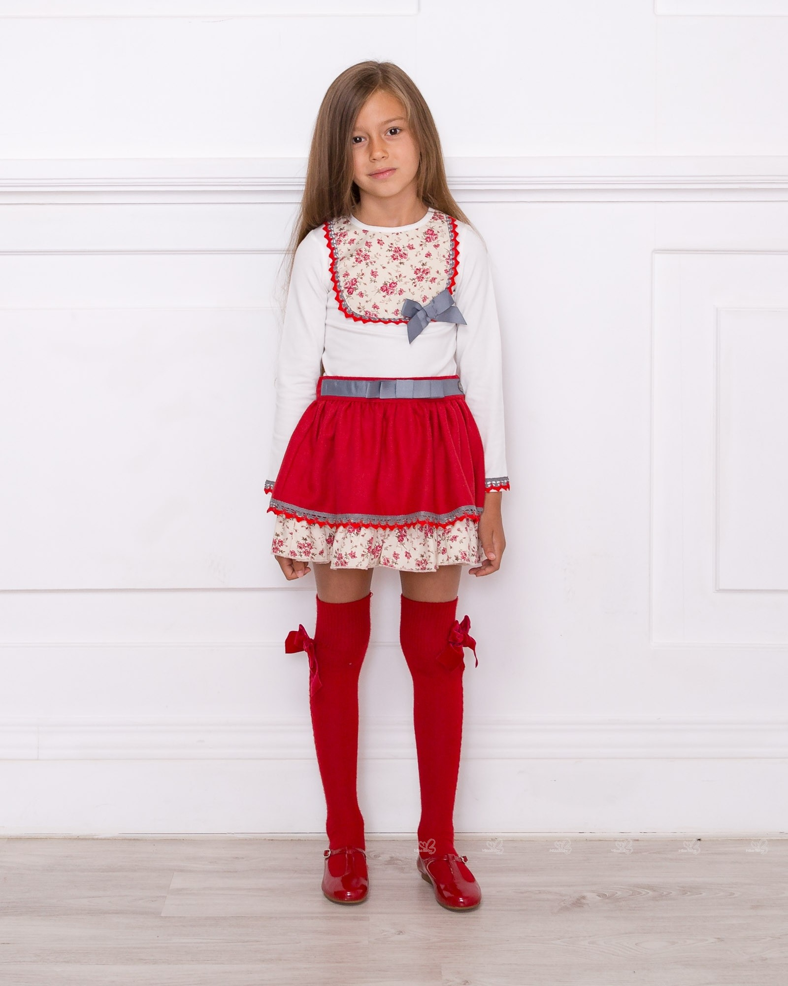 Outlet New Jersey >> Girls Ivory Decorated T-Shirt & Red Ruffle Skirt Set Outfit | Missbaby