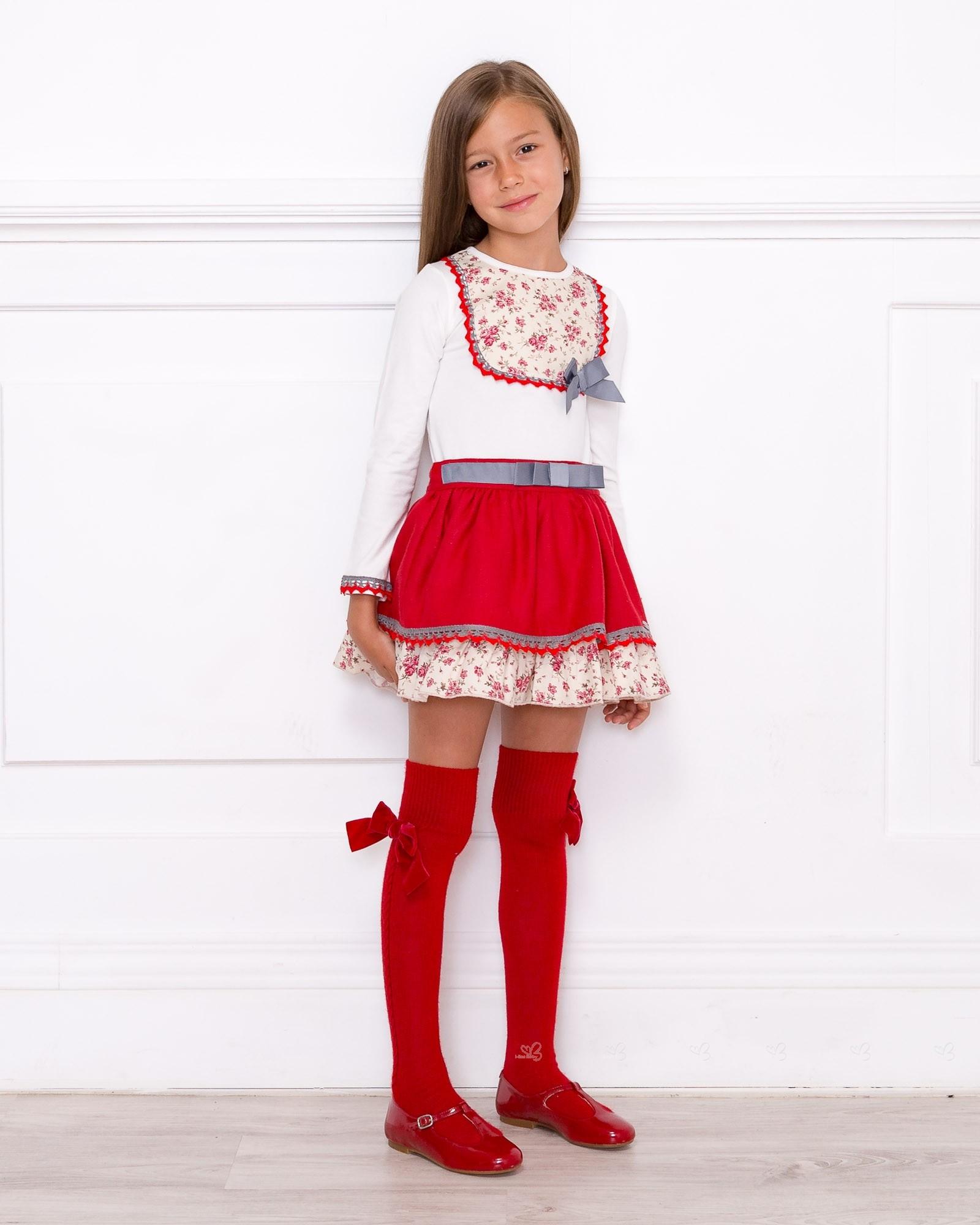 Girls Ivory Decorated T-Shirt & Red Ruffle Skirt Set ...