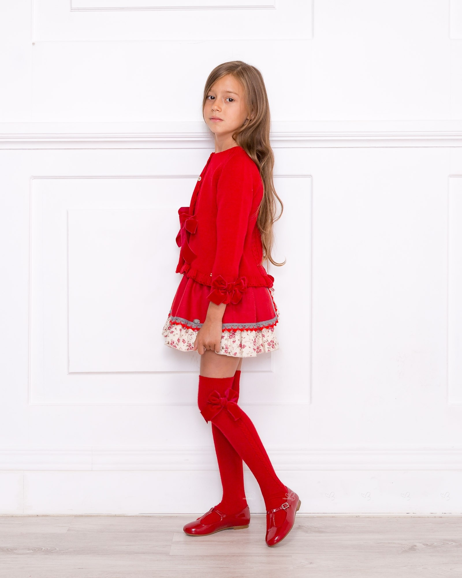 Baby girls red ruffle cardigan with button front