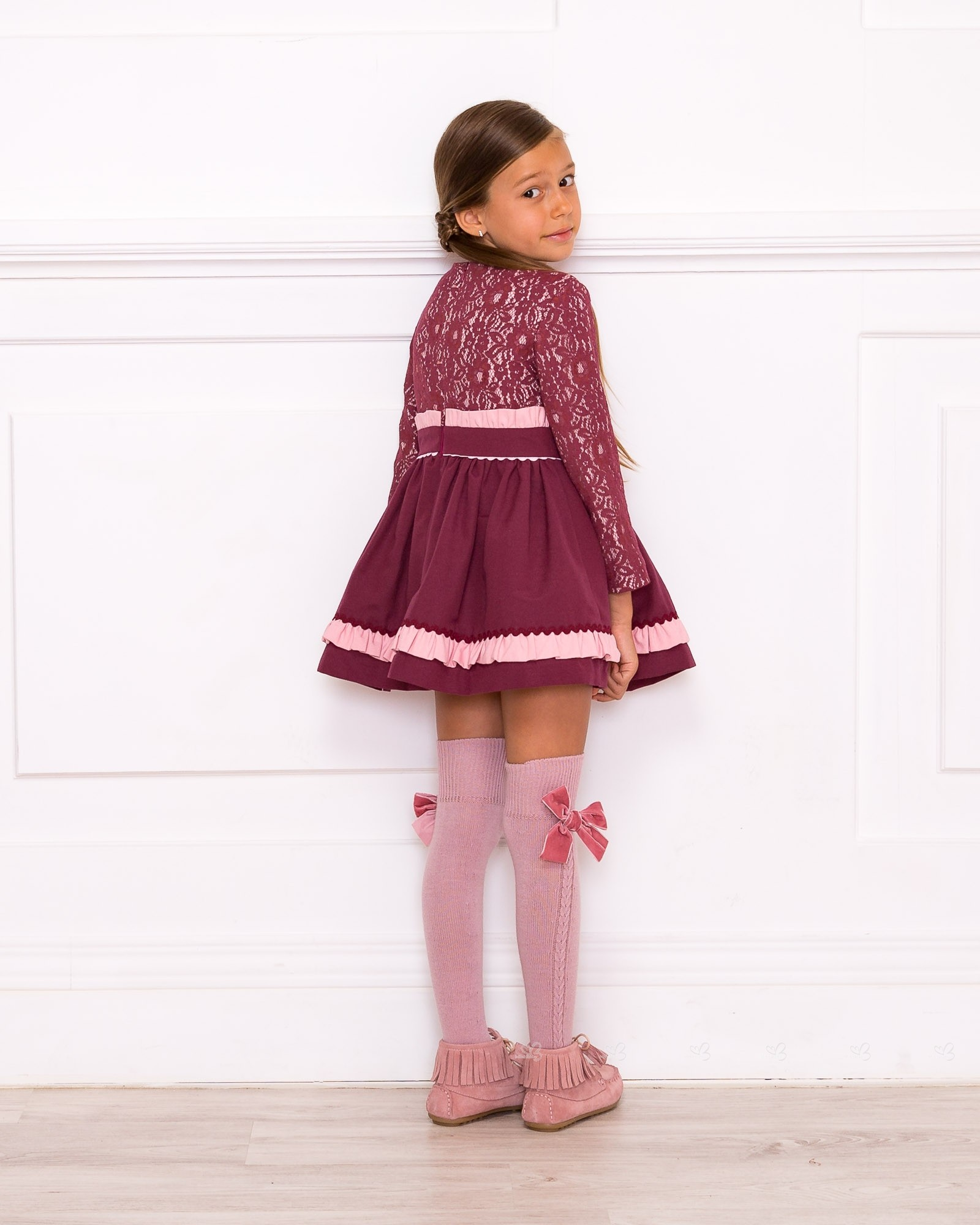 Girls Pink Dress With Floral Amp Jersey Layered Skirt Outfit
