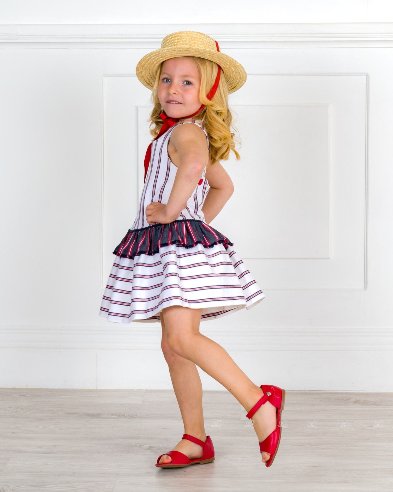 7e0e4087a7 Rochy Girls Navy Blue & Red Ruffle Dress with Crossed Back Straps ...