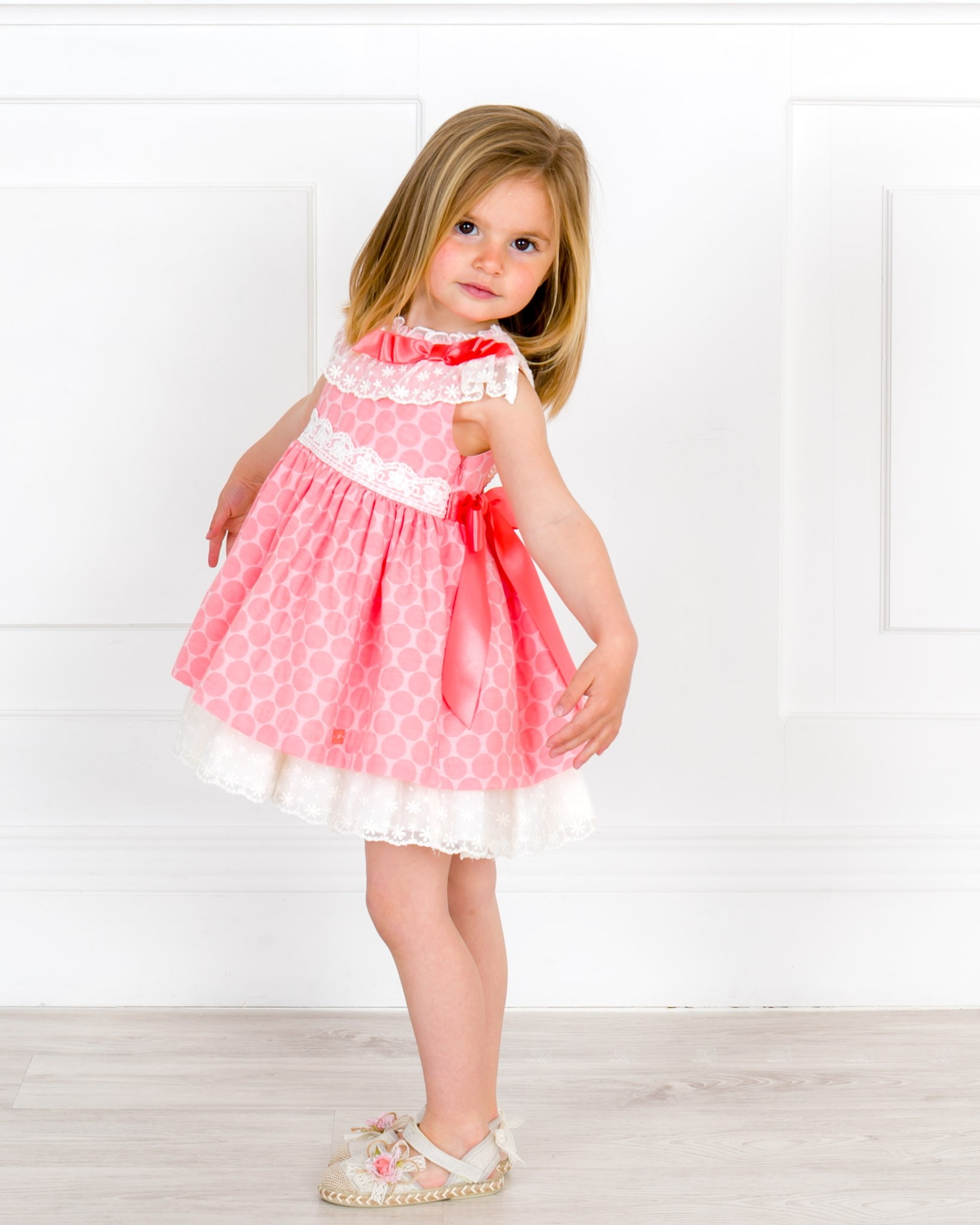 bafb99c28 Girls Pink & Ivory Jacquard Spotted Dress