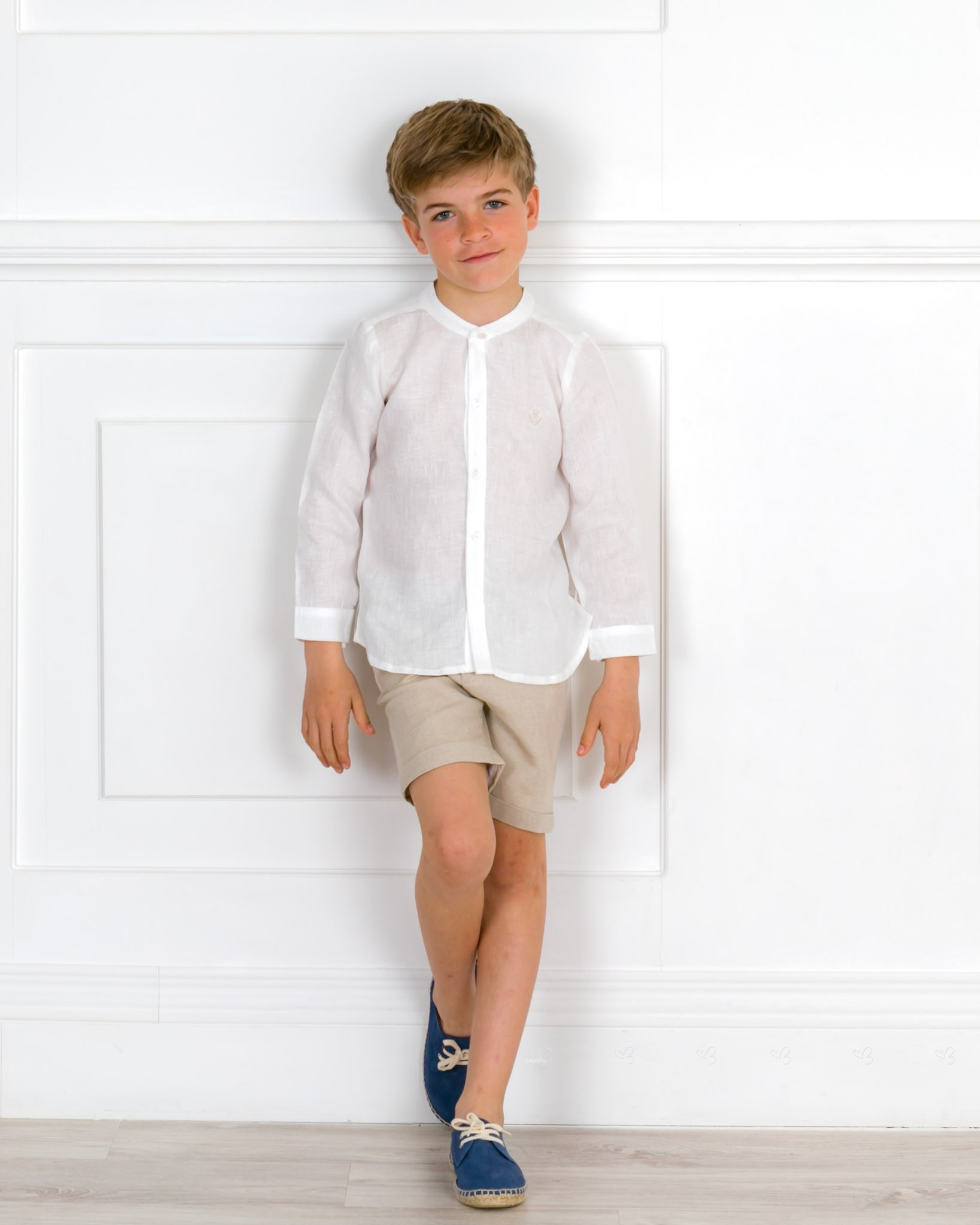 db1261f0cda Boys White Linen Shirt   Beige Short Set   Blue Espadrilles Outfit. Hover  to zoom