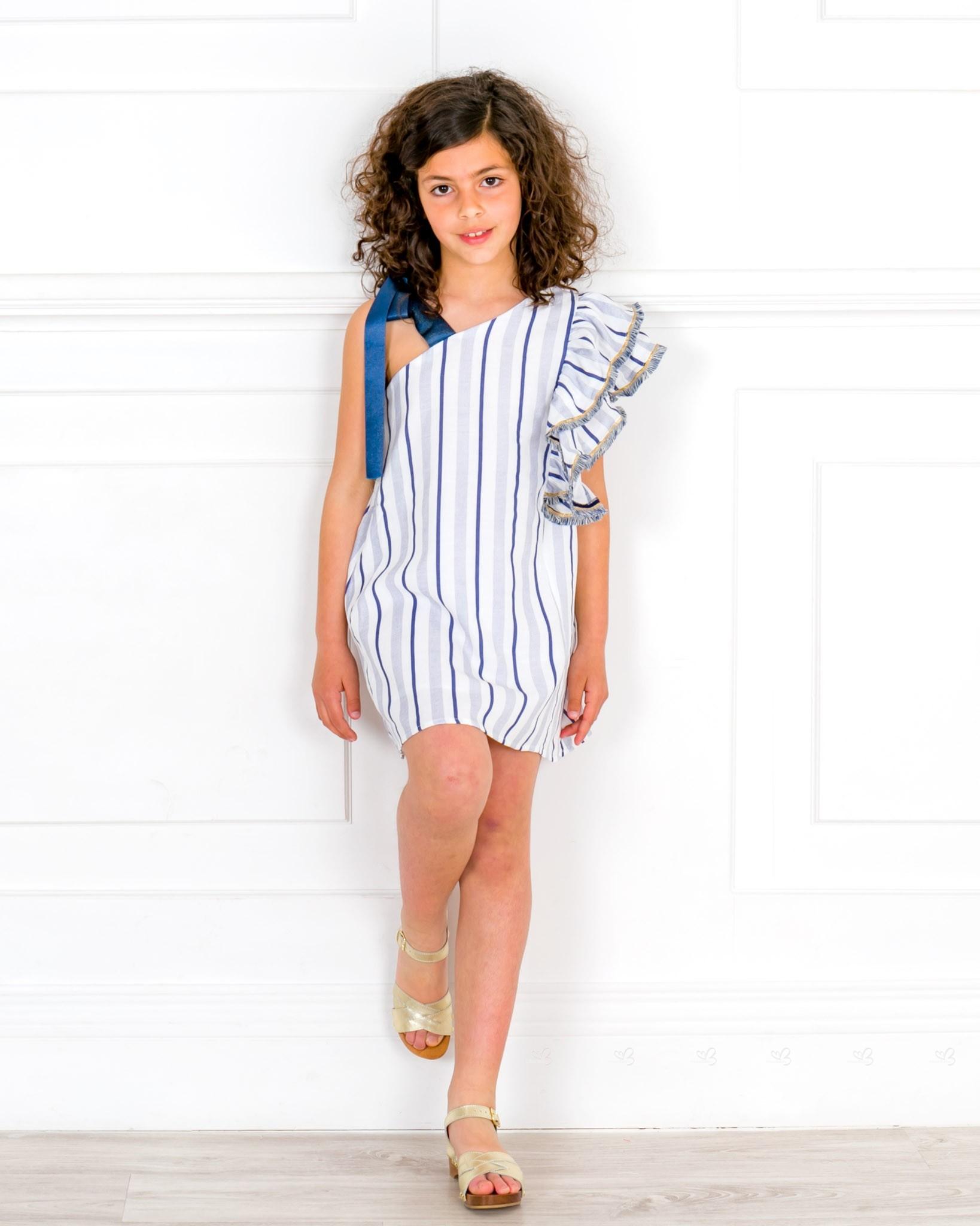 05f76e978f22 Girls White   Blue Striped Off The Shoulder Shift Dress   Girls ...