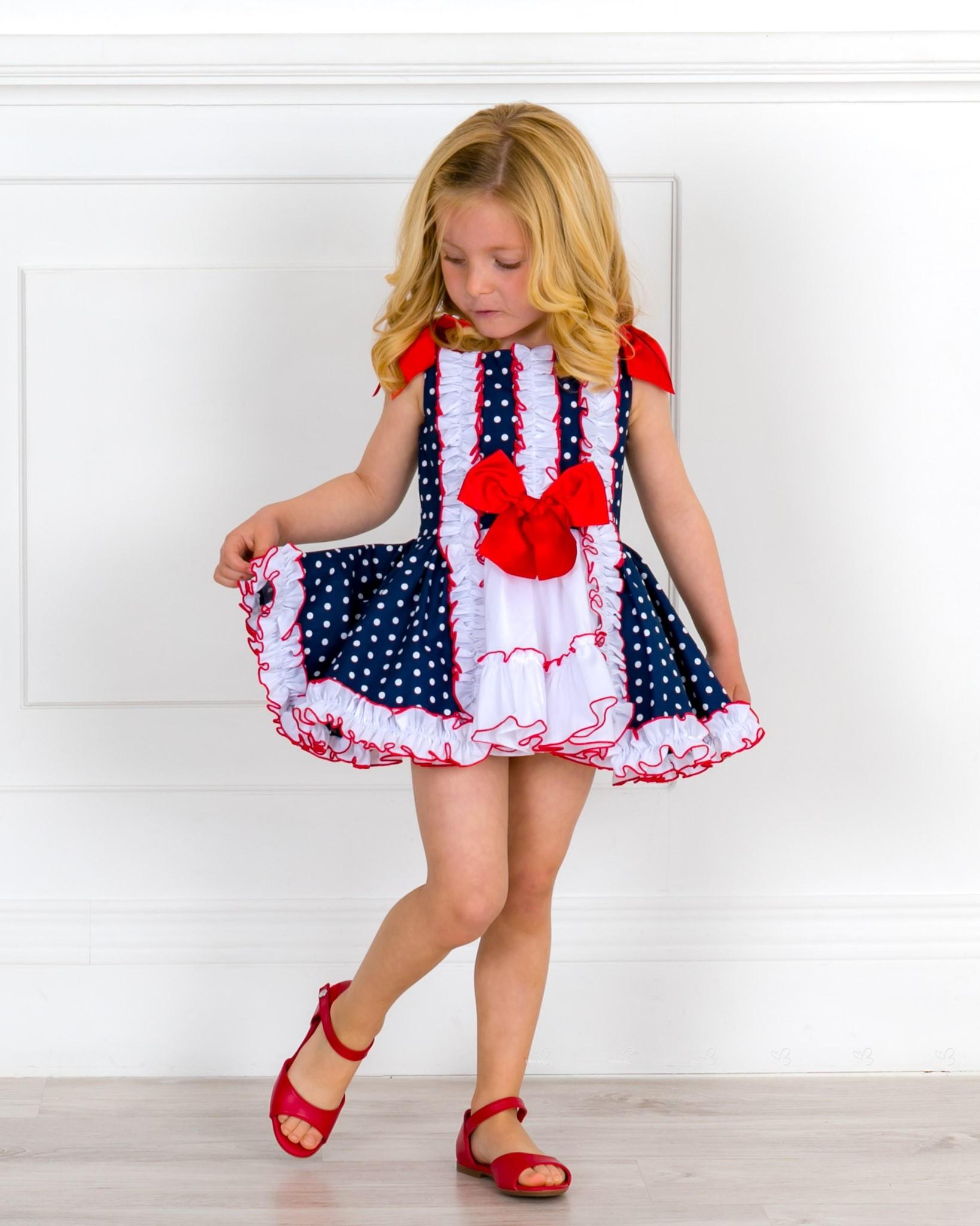 49525c43143 Girls Navy Blue   white Polka Dot Flared Dress   Girls Red Leather ...