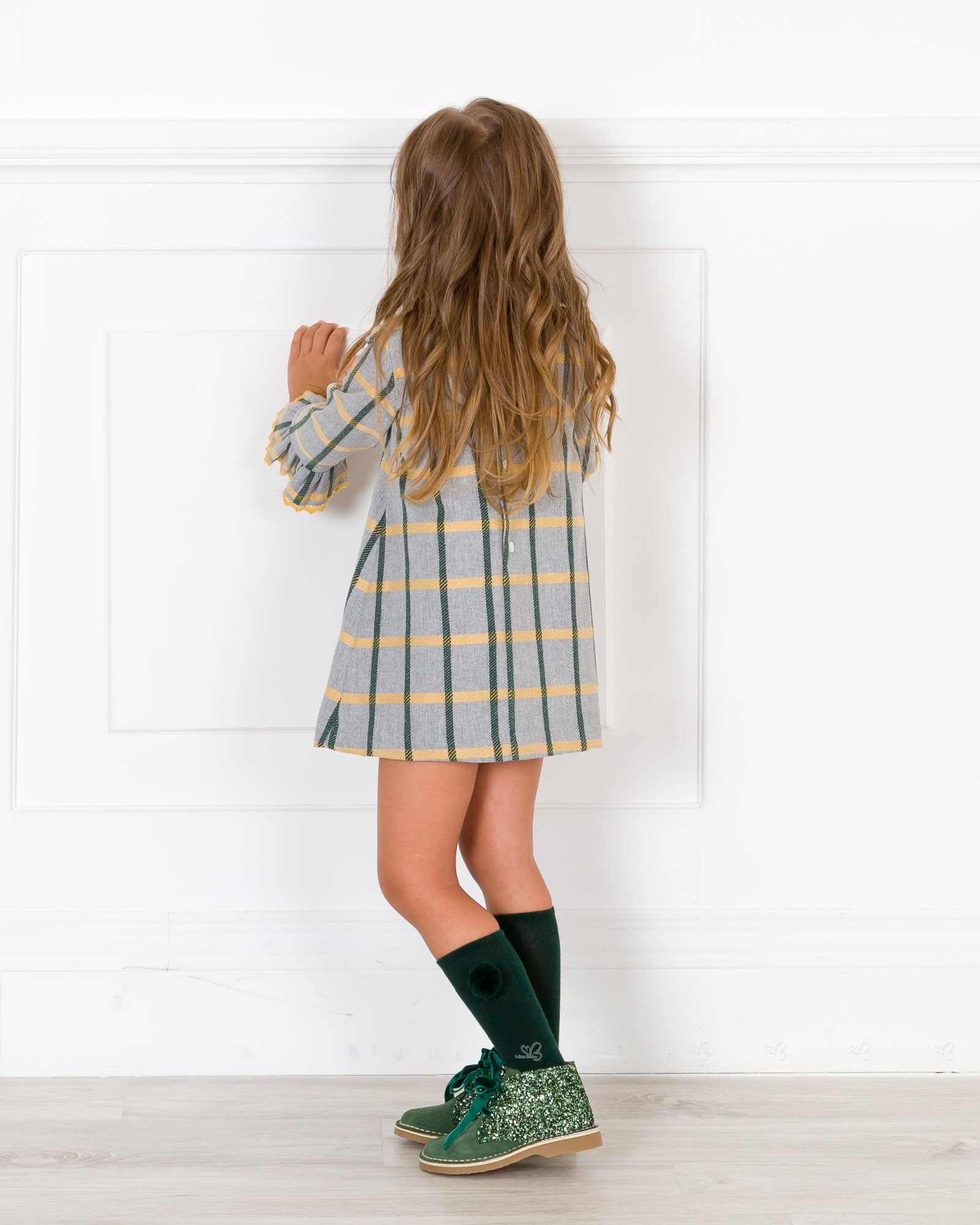 c3637d85a7 Girls Grey   Mustard Checked Shift Dress Outfit