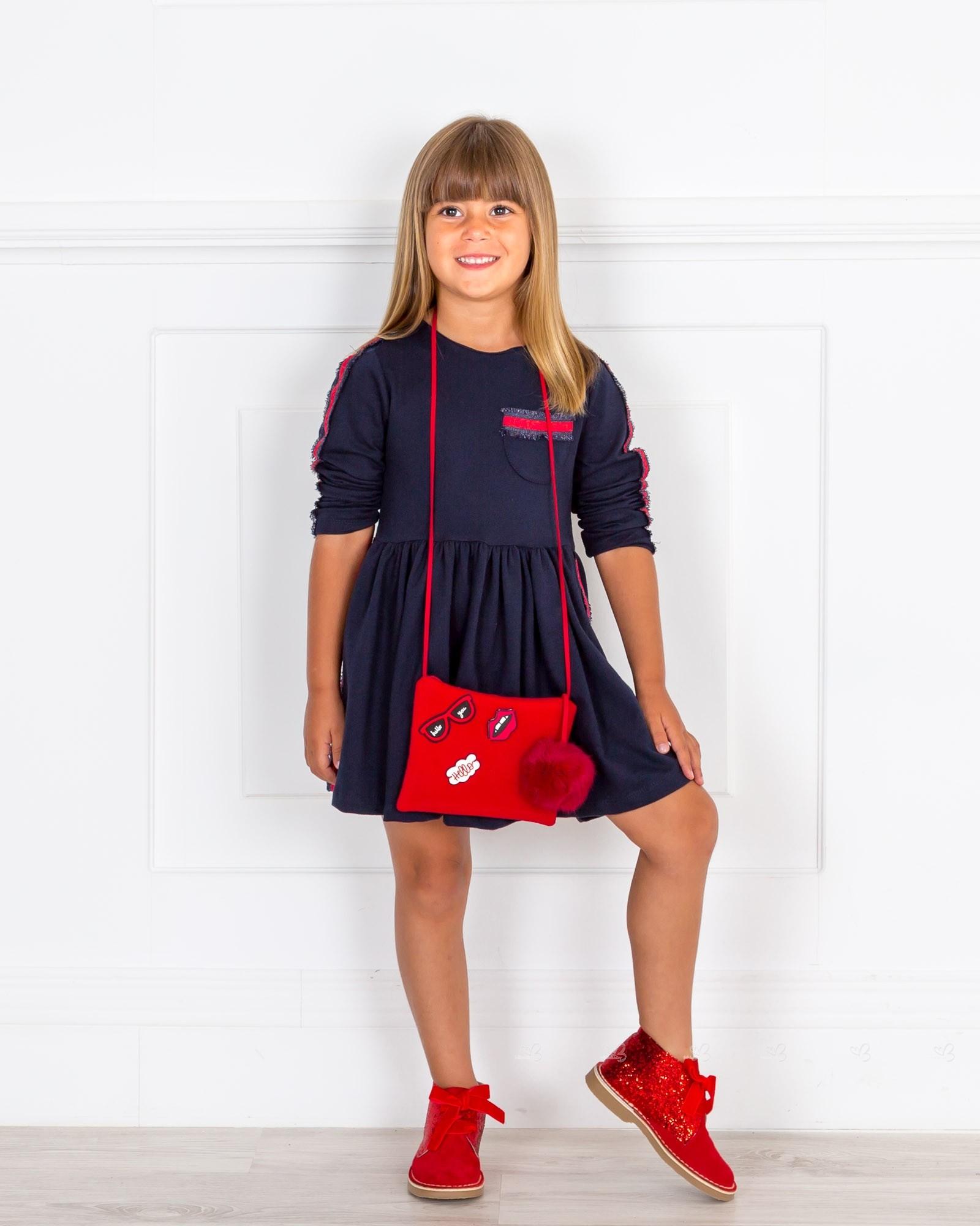 3aa1b3be00 Girls Navy Blue Jersey Dress   Red Glitter Boots Outfit