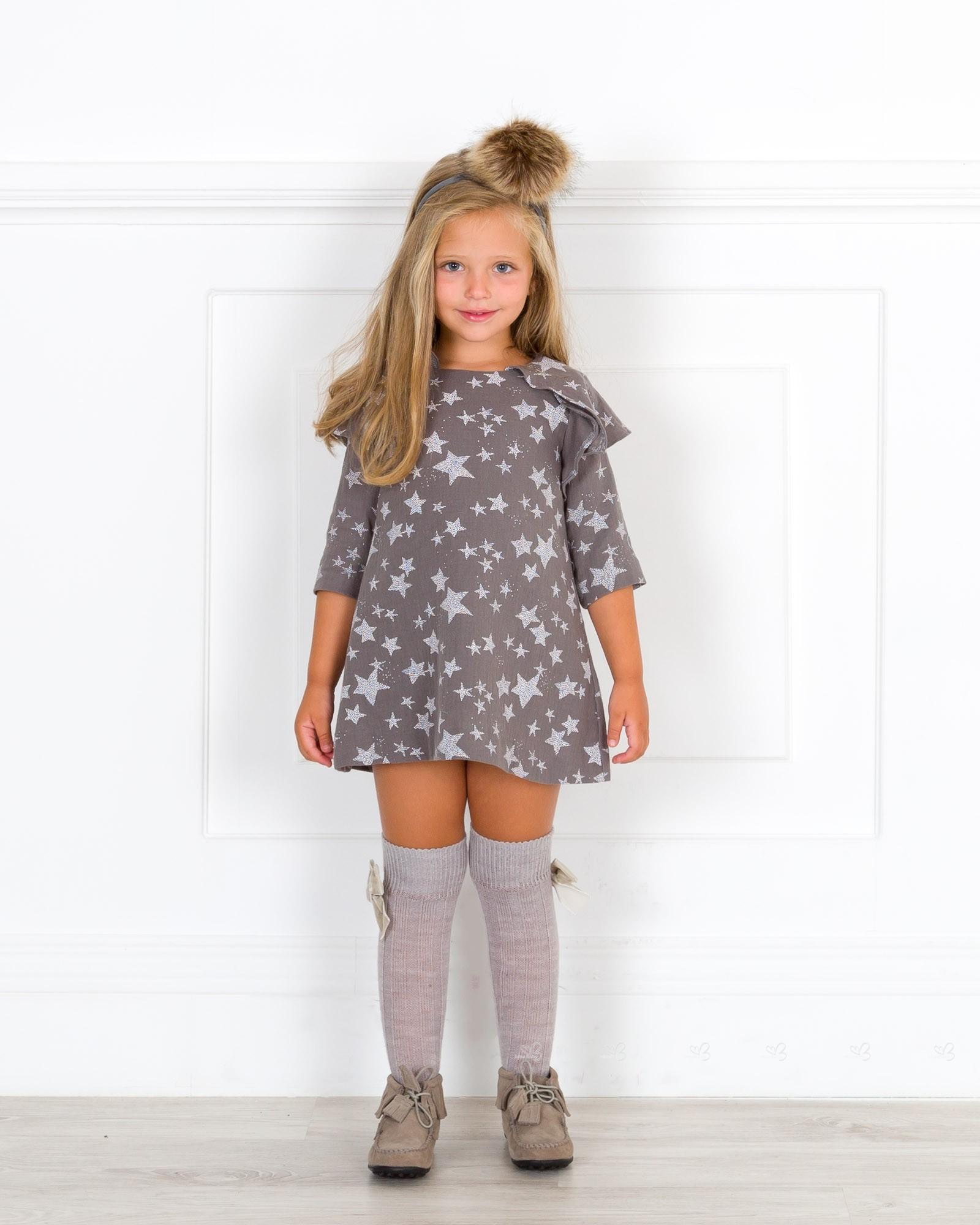 Girls Grey Star Dress Outfit Missbaby