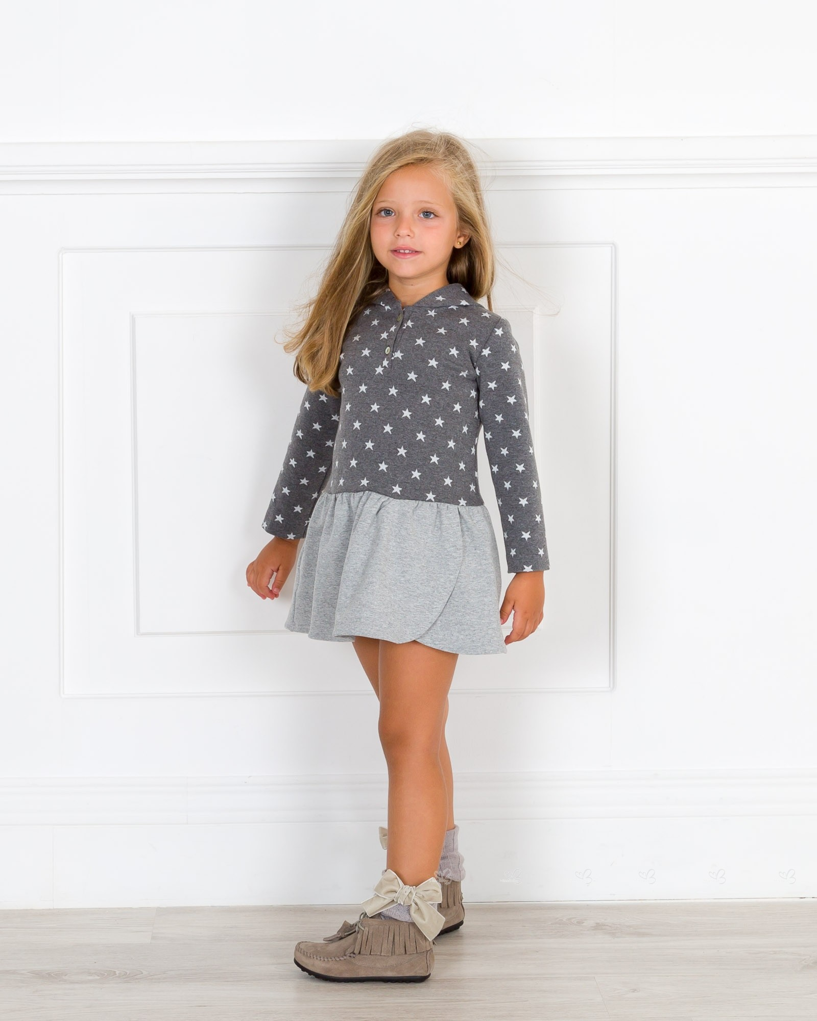 Girls Grey Star Print Hooded Jersey Dress Outfit Missbaby