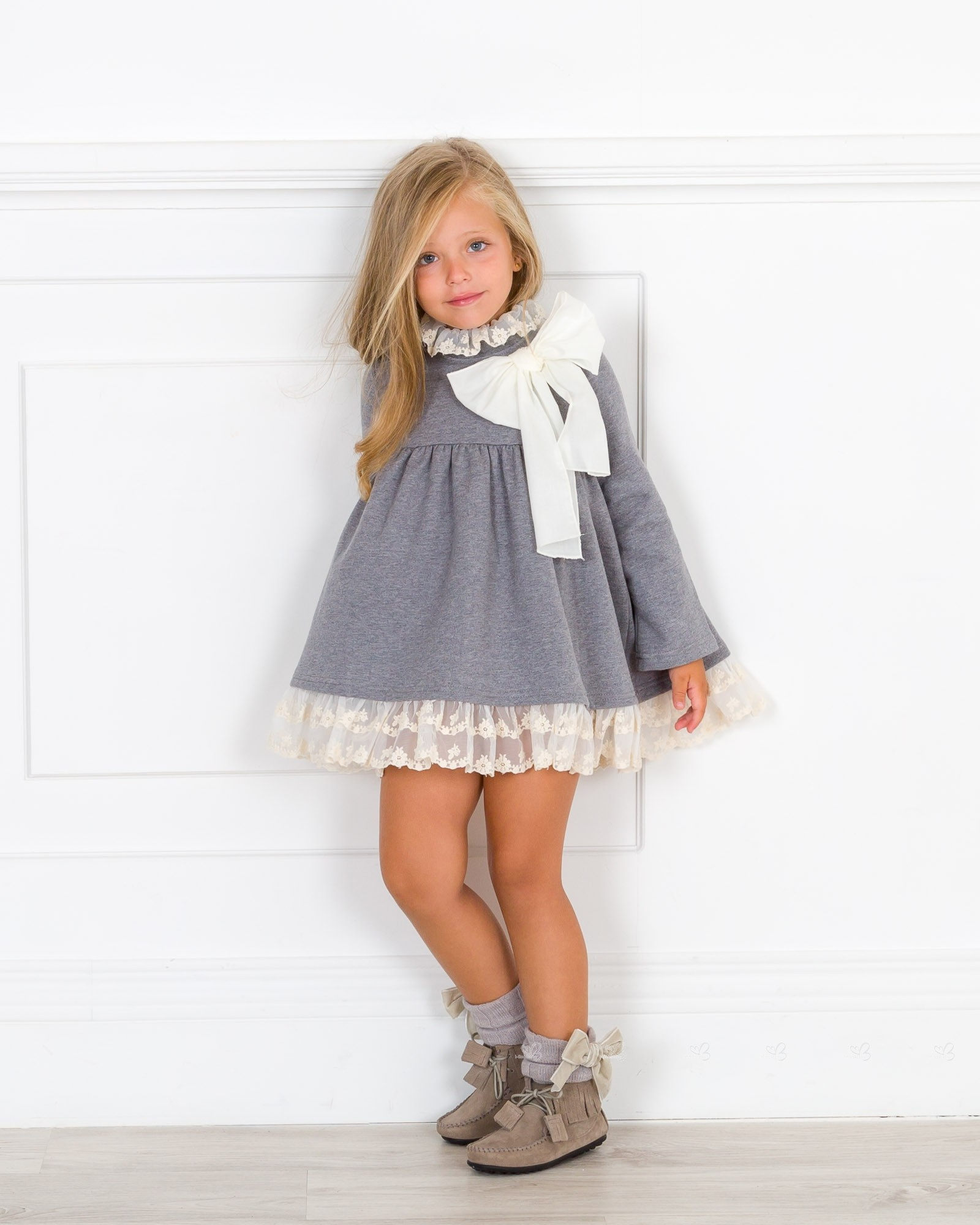 3eb37ff056e8 Girls Grey   Ivory Jersey Dress Outfit. Hover to zoom