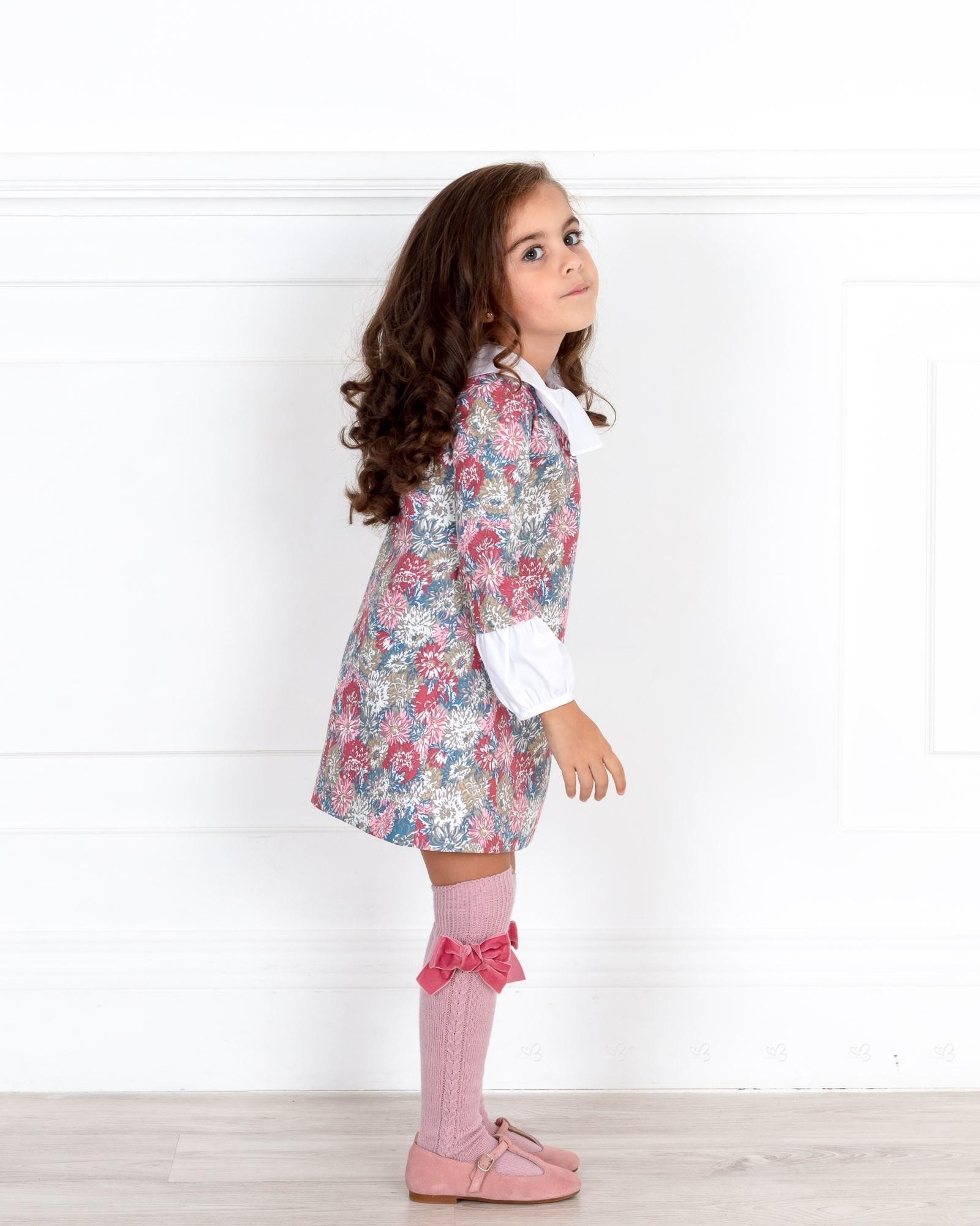 509a21d9ce0 ... Ancar Vestido Estampado Floral Rosa Cuello   Mangas Popelin Blanco