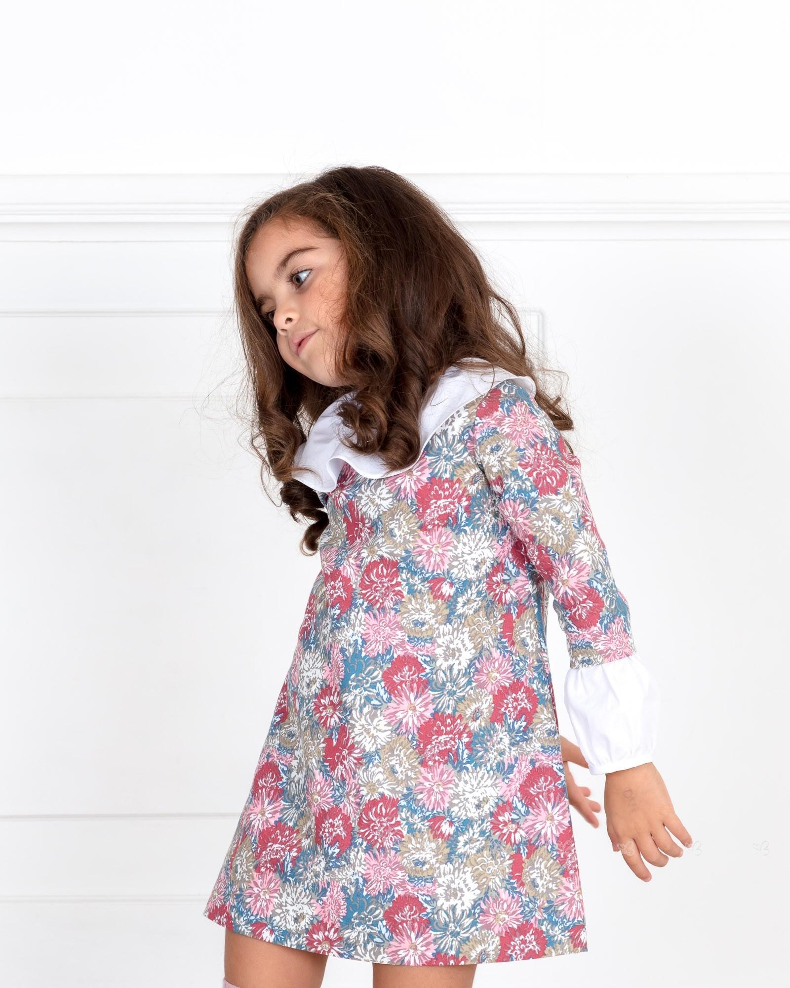 1bfb7f8c848 ... Ancar Vestido Estampado Floral Rosa Cuello   Mangas Popelin Blanco ...