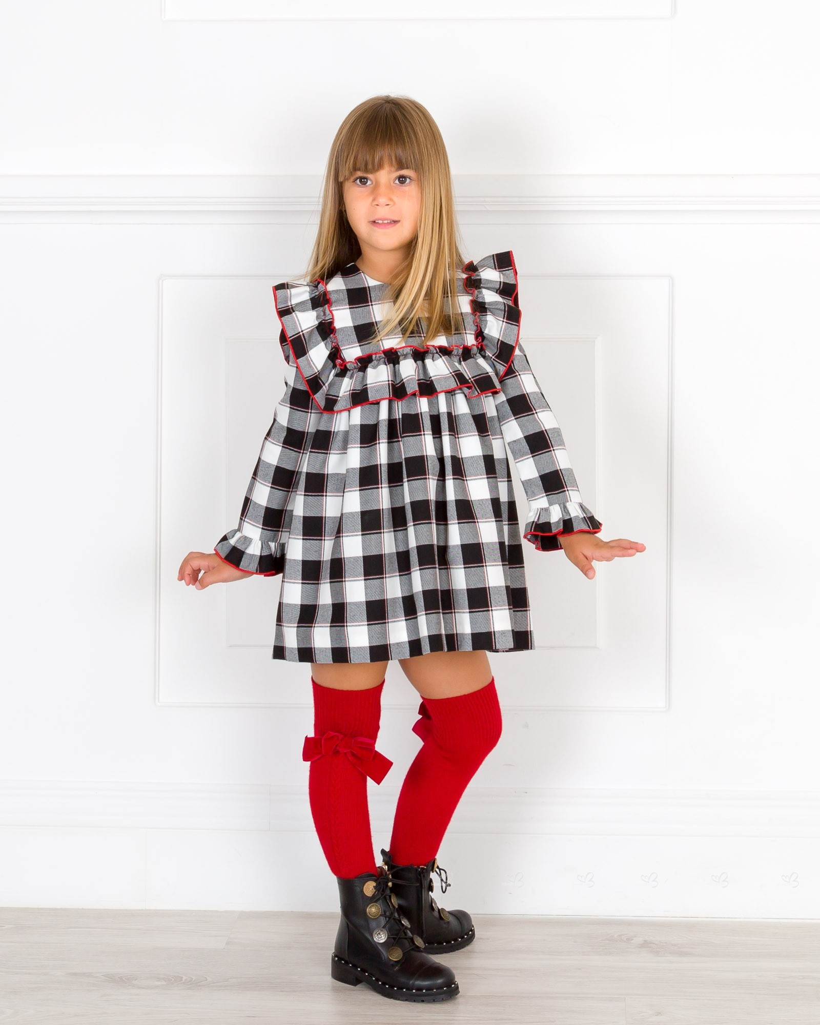 Girls Black White Checked Dress Collection Outfit Missbaby