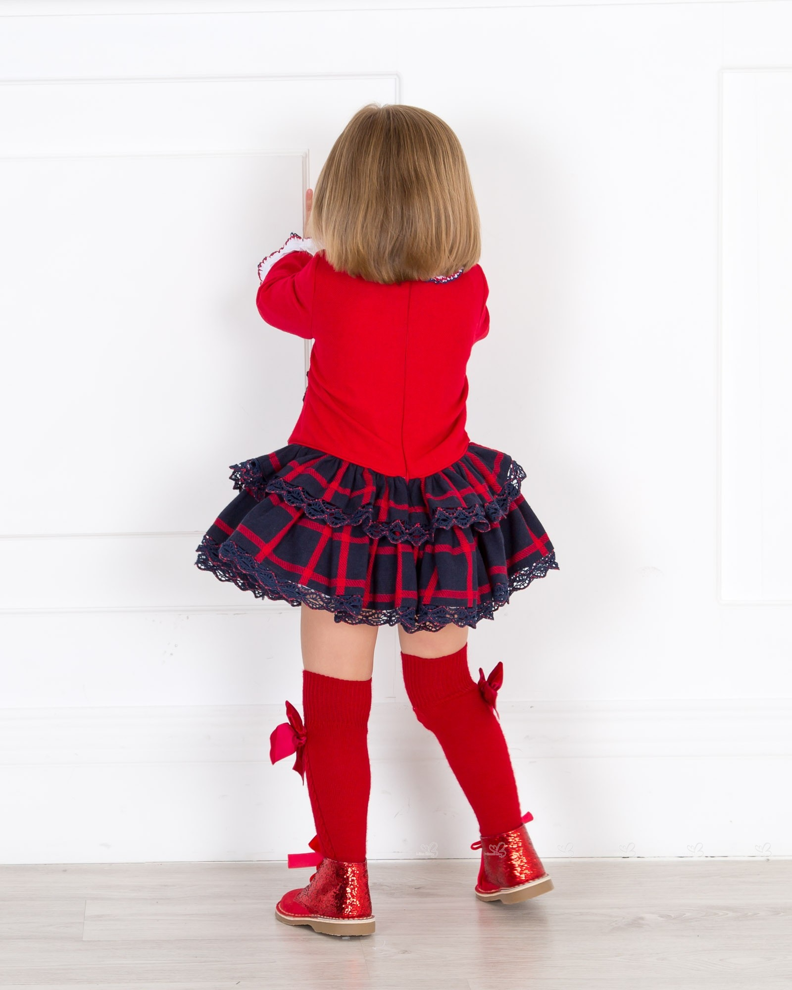 21791b719 ... Girls Red Checked Dress & Glitter Boots Outfit by Dolce Petit and Rochy  ...