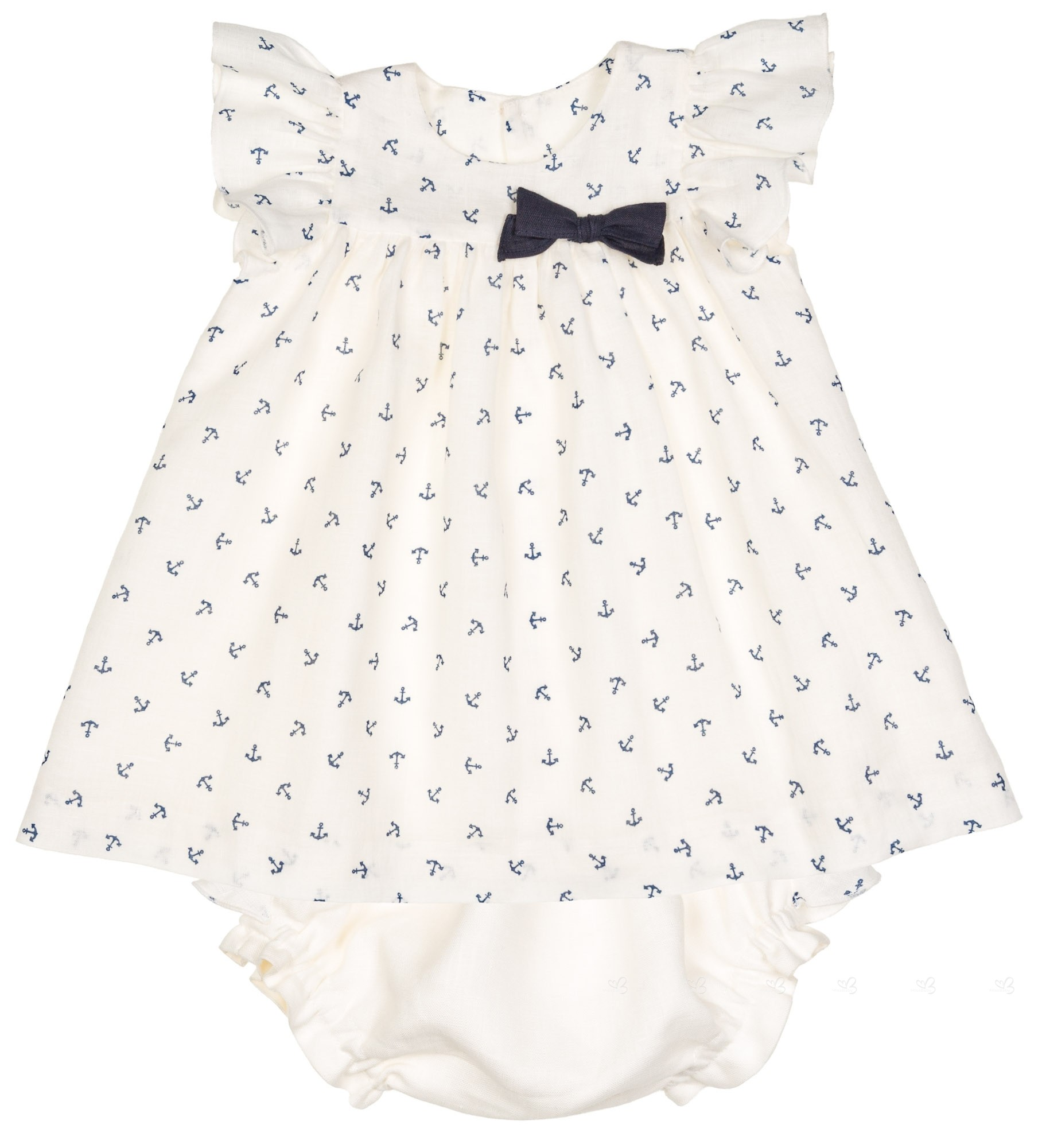 Manuela Montero Baby Girls Ivory & Navy Blue Anchor 2