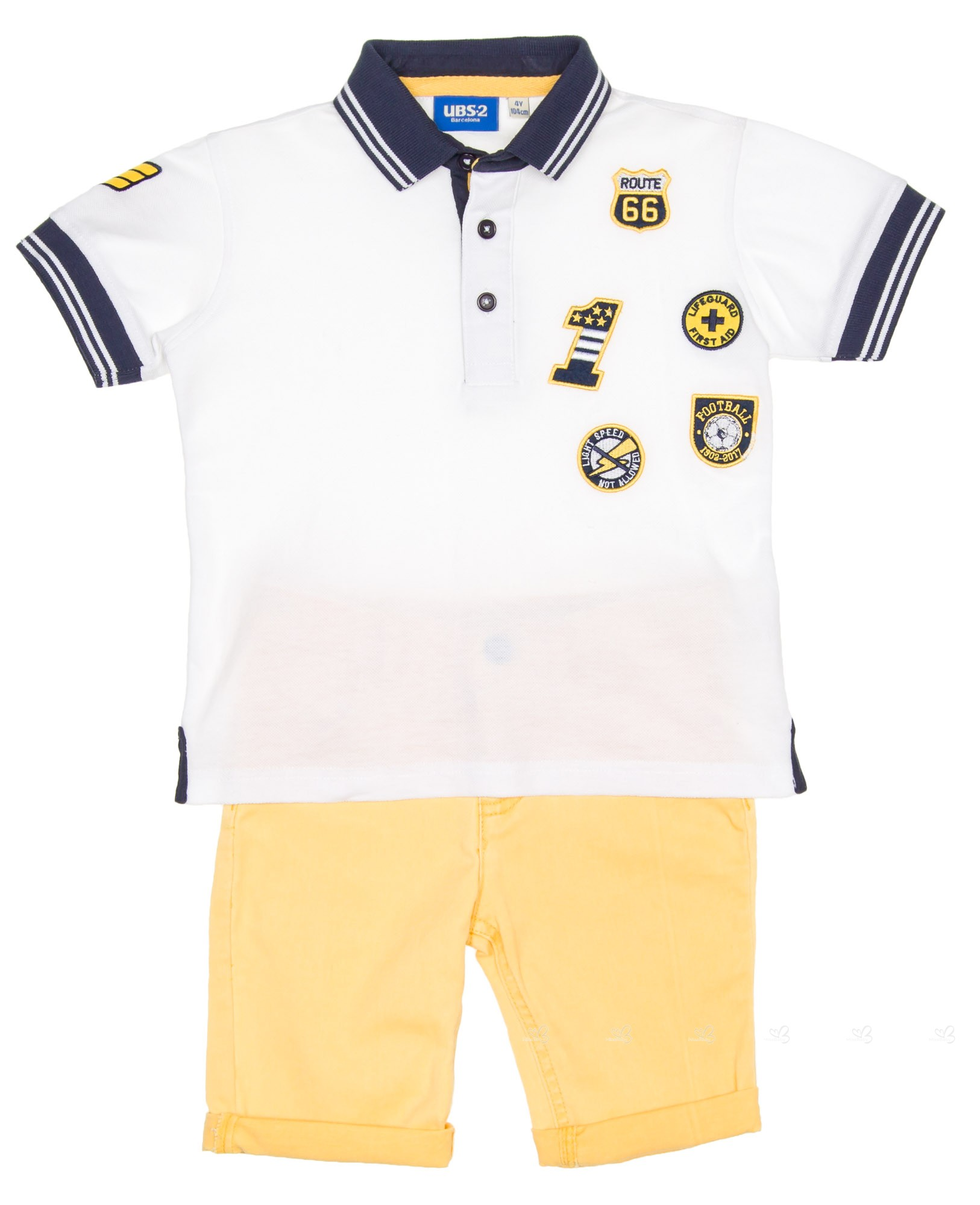 Ubs2 Boys White Polo Shirt Yellow Denim Shorts Set Missbaby
