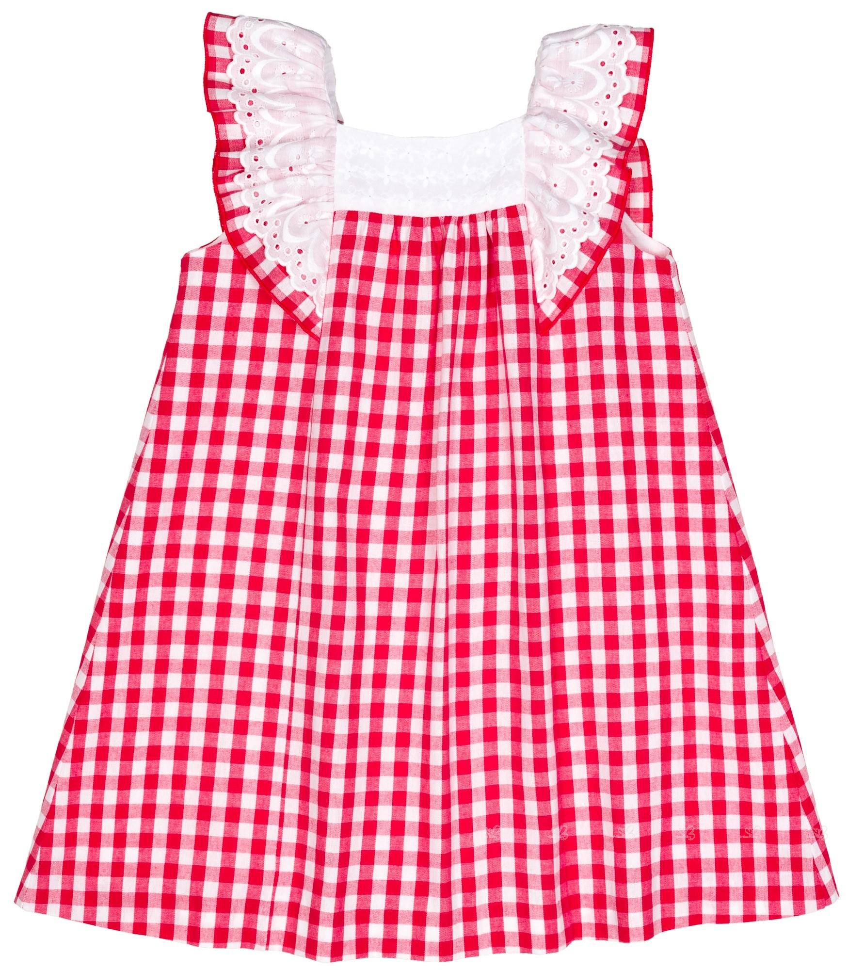 8a43142af Home; Girls Red & White Gingham dress with Navy Blue Bow. Mon Petit Bonbon  Vestido Niña Evasé Vichy Rojo Lazo Marino ...