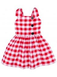 Girls Red & White Checked Dress
